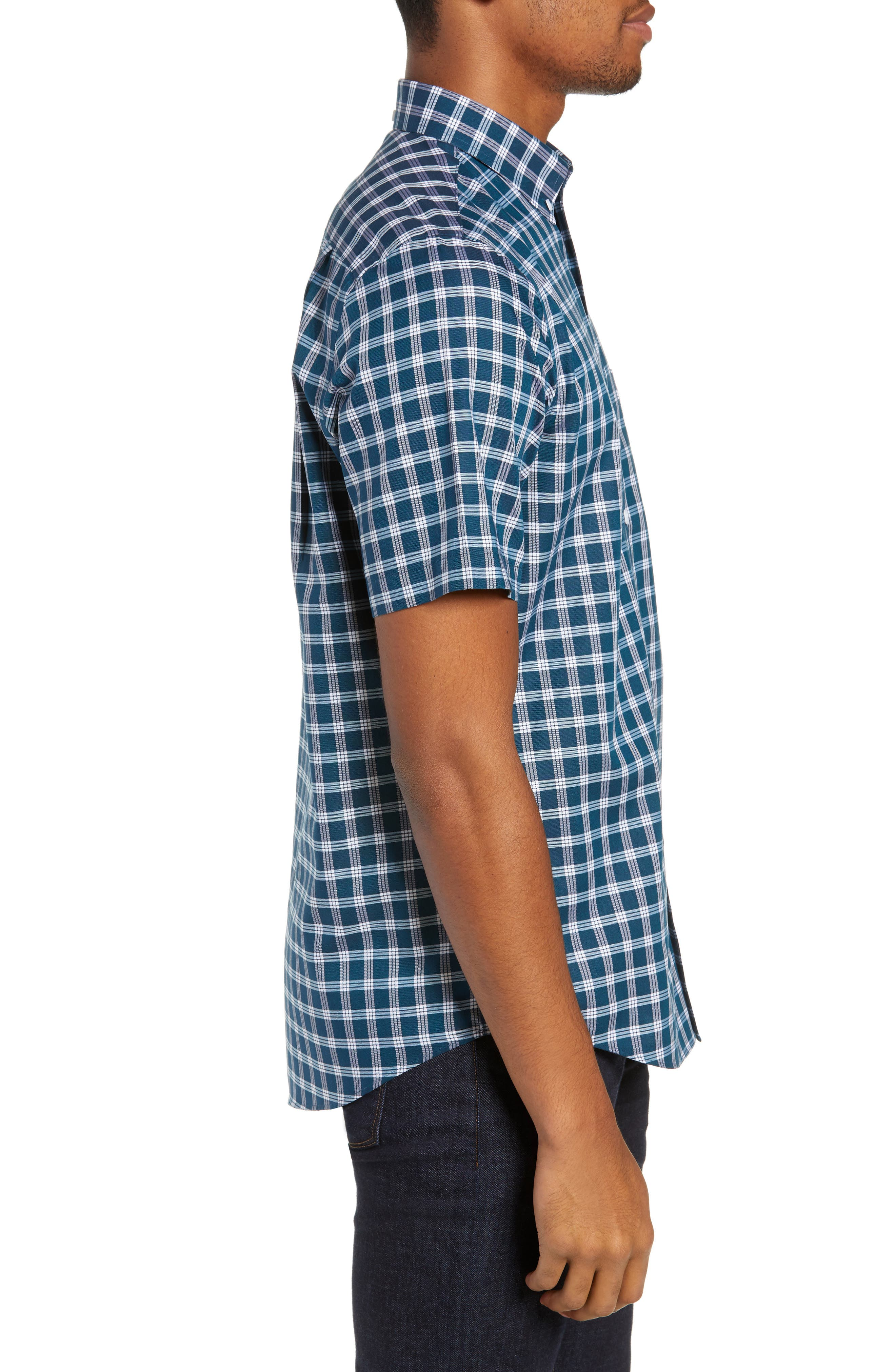 Smartcare<sup>™</sup> Slim Fit Check Sport Shirt,                             Alternate thumbnail 4, color,                             TEAL GLOSS WHITE CHECK