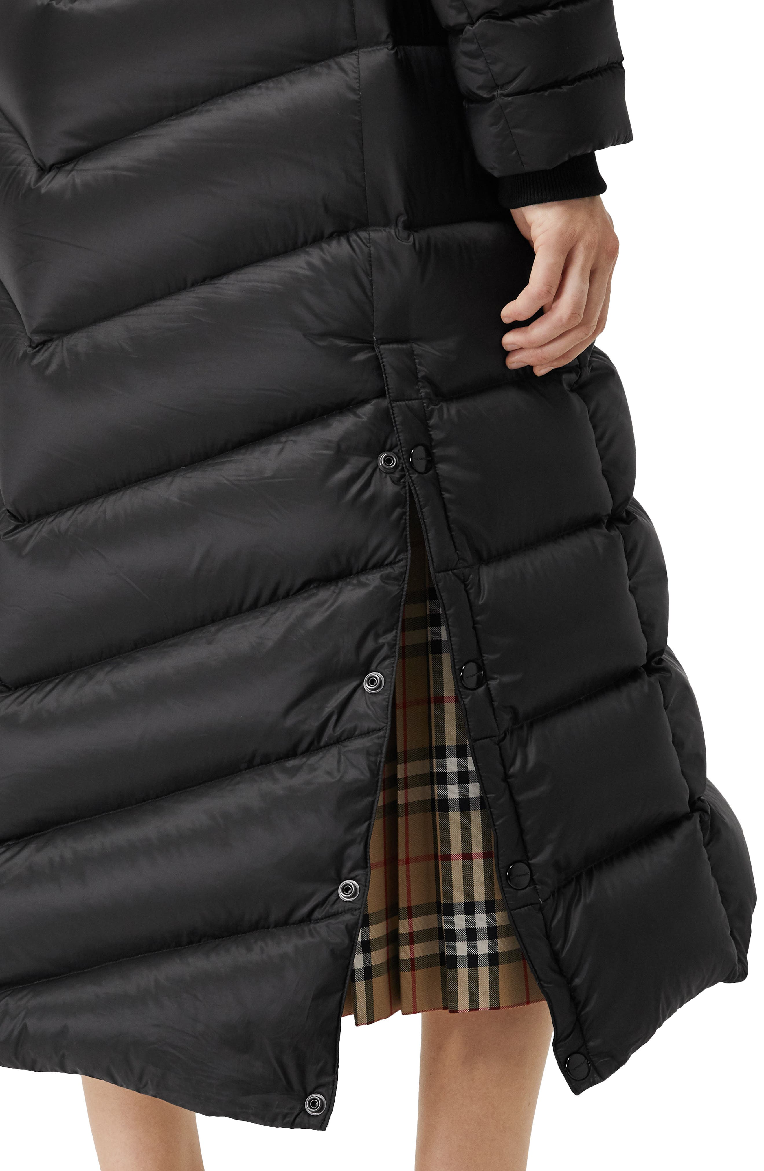 Kington Faux Fur Trim Long Down Coat,                             Alternate thumbnail 3, color,                             BLACK