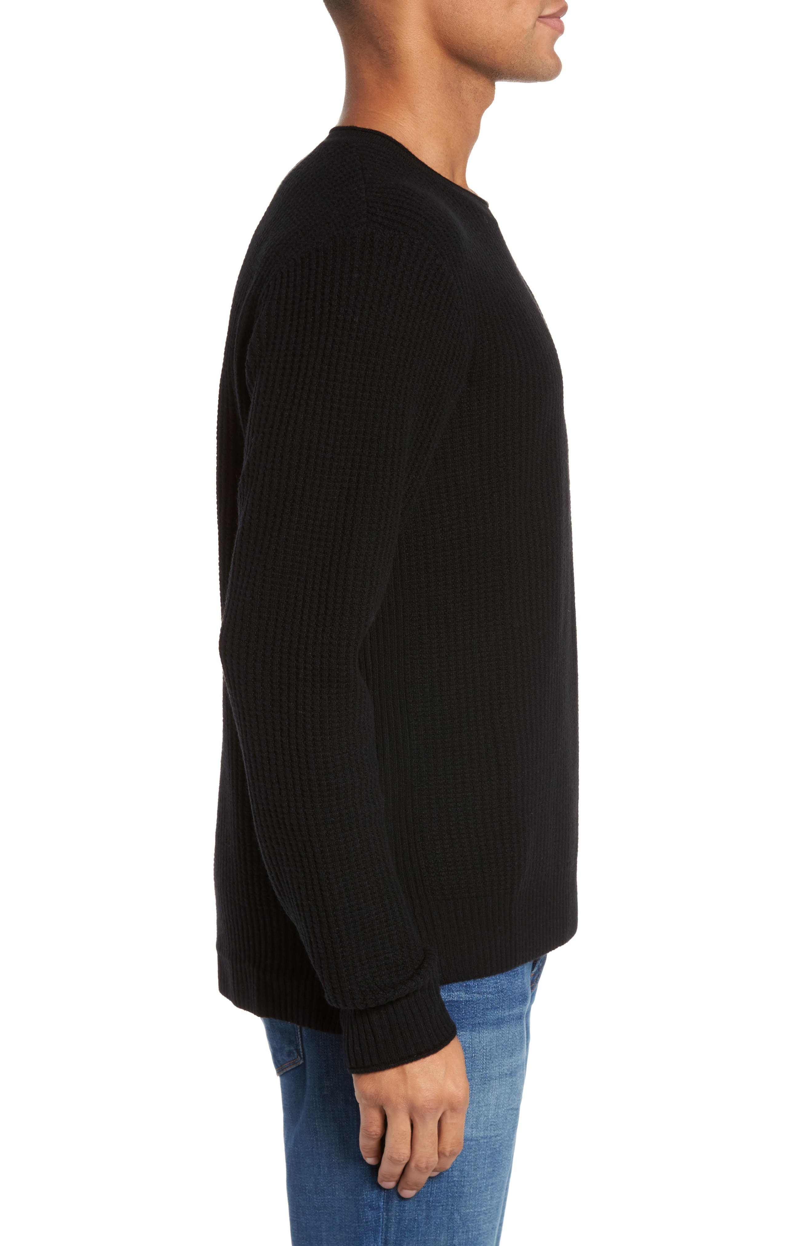 Deklyn Slim Fit Merino & Cashmere Sweatshirt,                             Alternate thumbnail 3, color,                             001