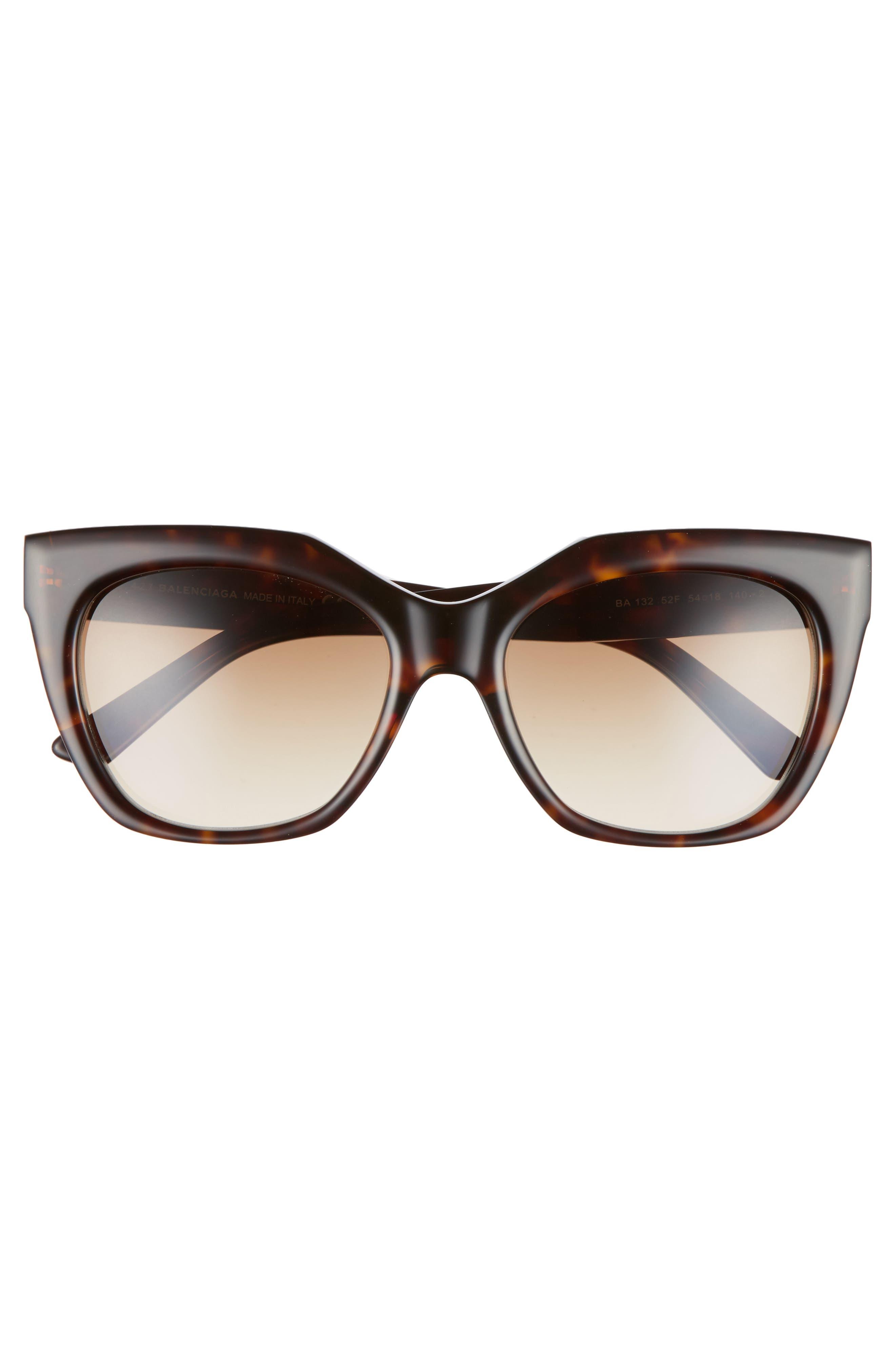54mm Cat Eye Sunglasses,                             Alternate thumbnail 3, color,                             DARK HAVANA/ GRADIENT BROWN