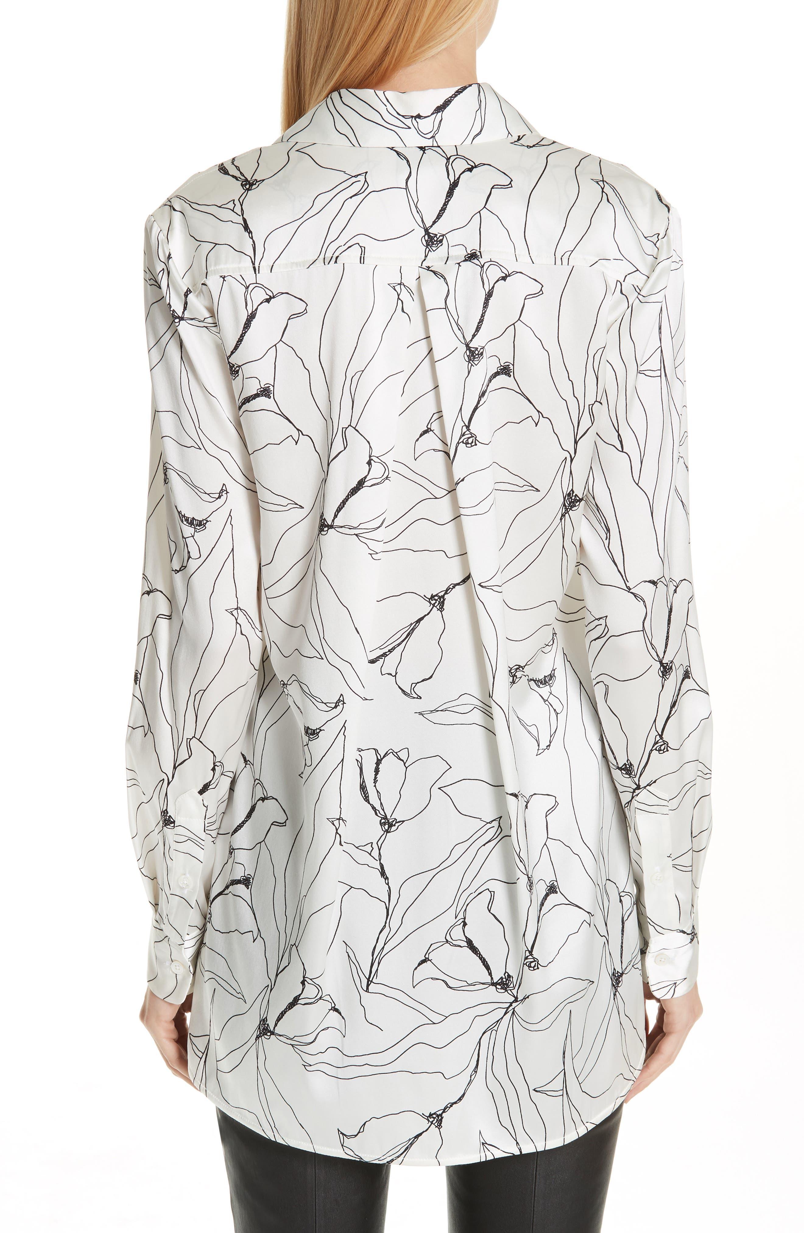 ST. JOHN COLLECTION,                             Artisanal Floral Stretch Silk Blouse,                             Alternate thumbnail 2, color,                             CREAM/ CAVIAR