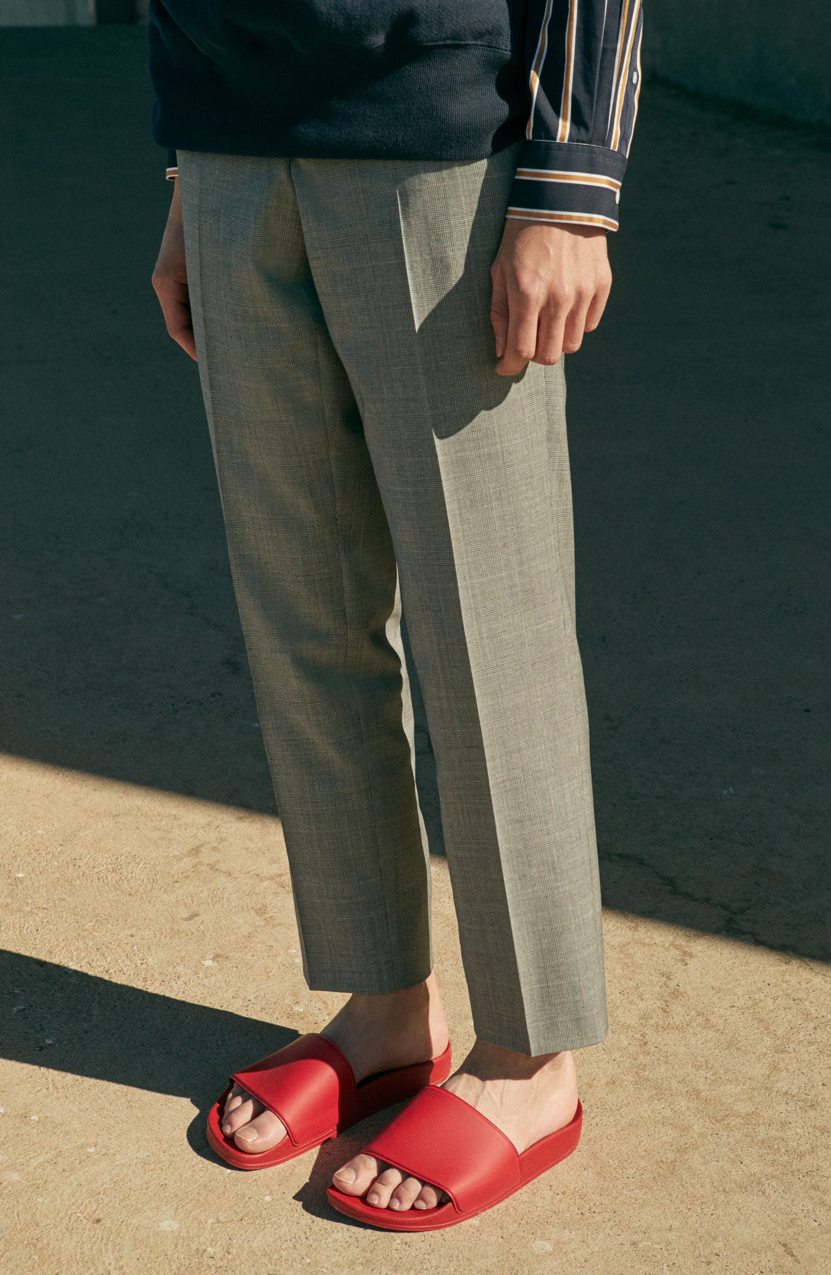 Jefferson Flat Front Check Wool Trousers,                             Alternate thumbnail 25, color,