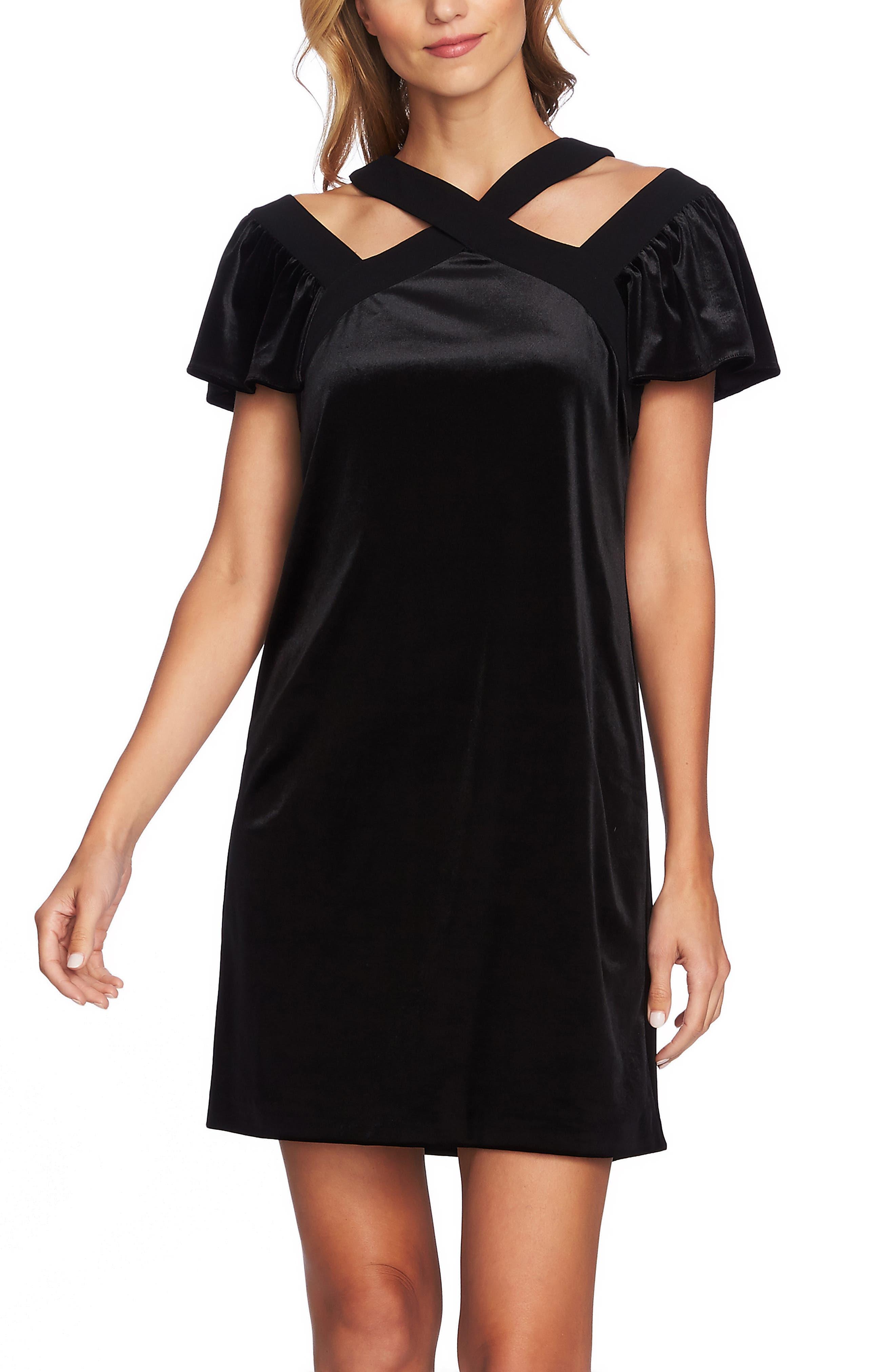 Crisscross Flutter Sleeve Stretch Velvet Dress,                             Alternate thumbnail 4, color,                             006