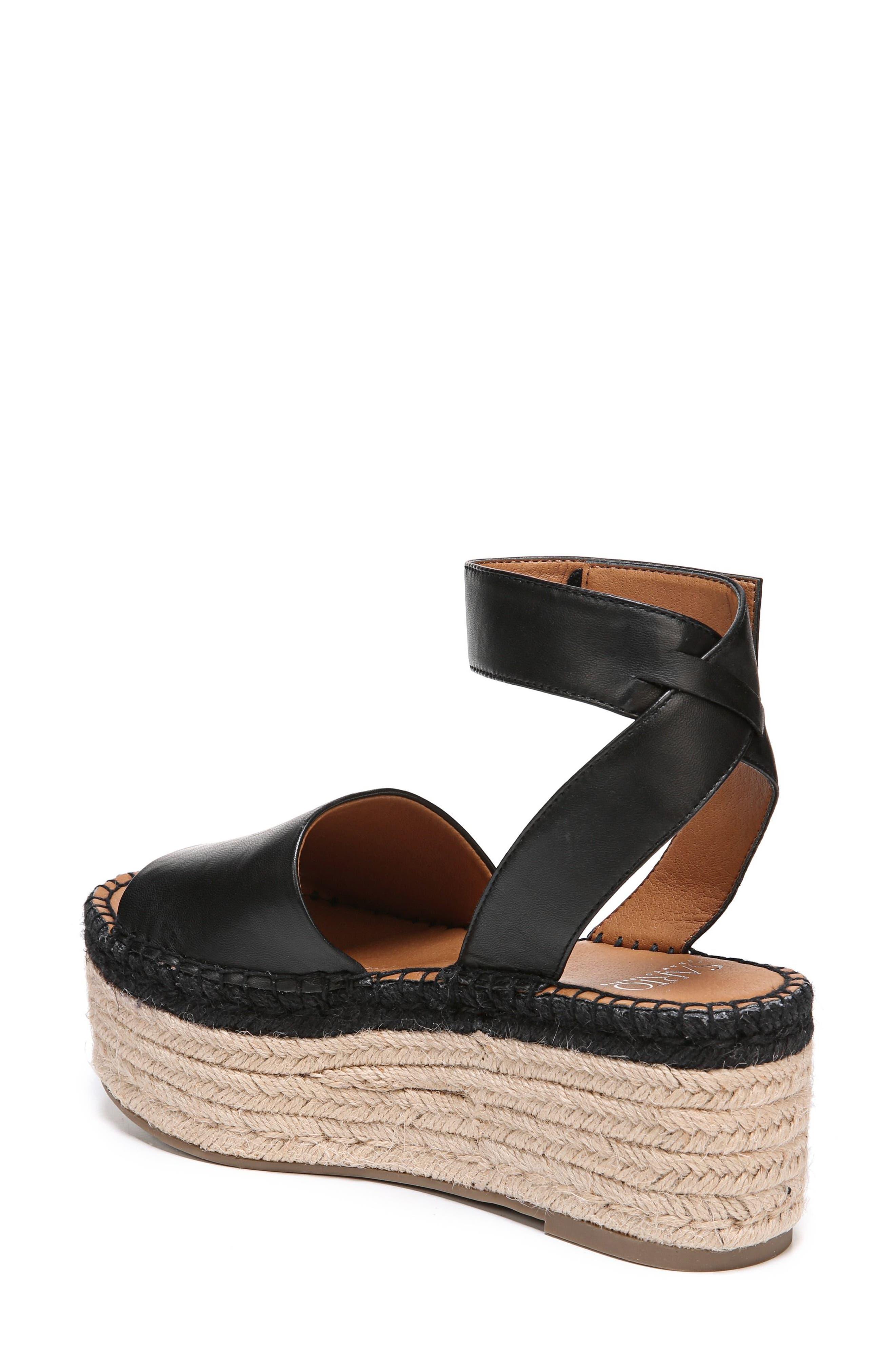 Maisi Platform Espadrille Sandal,                             Alternate thumbnail 7, color,                             BLACK LEATHER