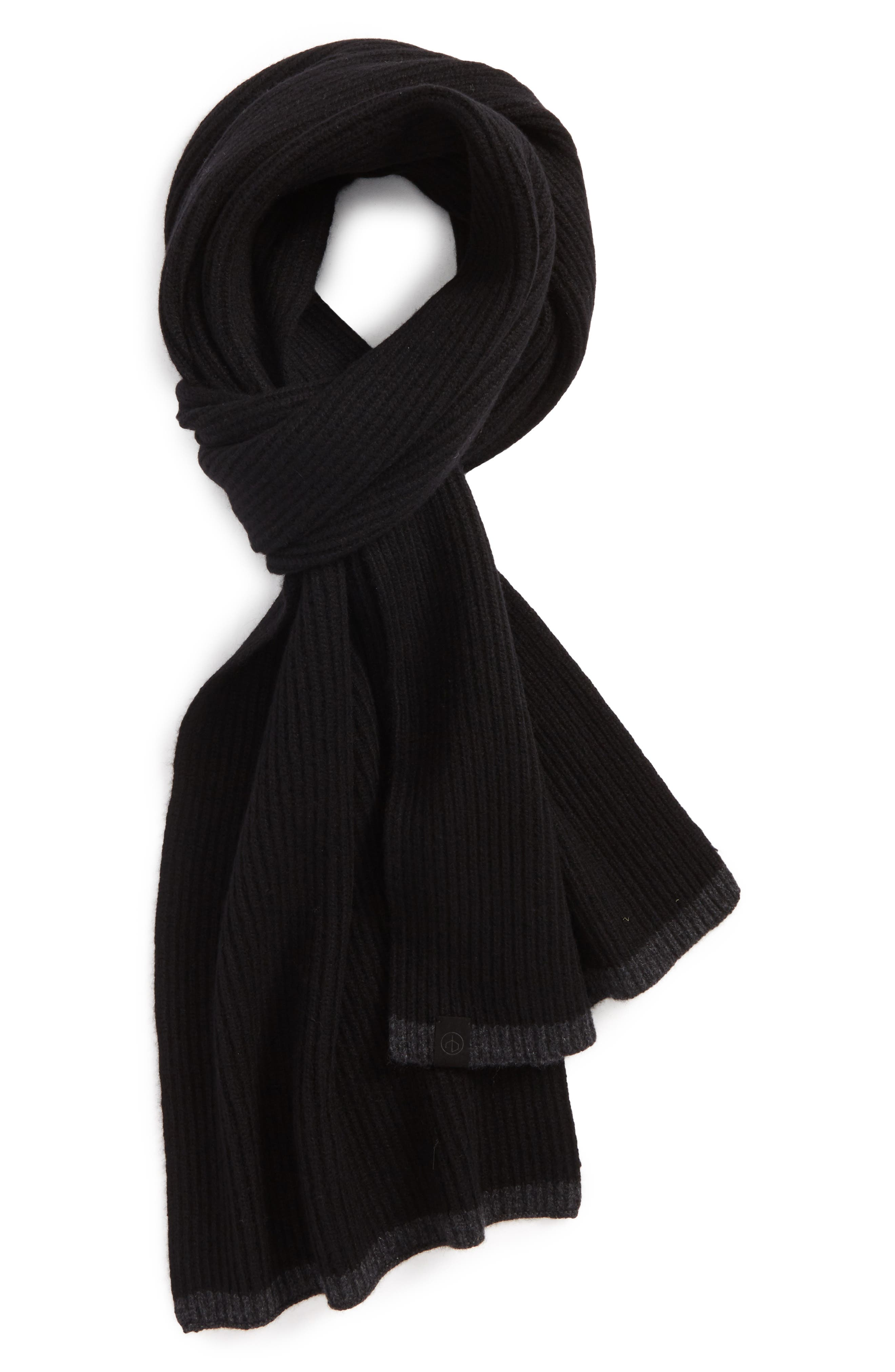 Ace Rib Knit Cashmere Scarf,                         Main,                         color, 001