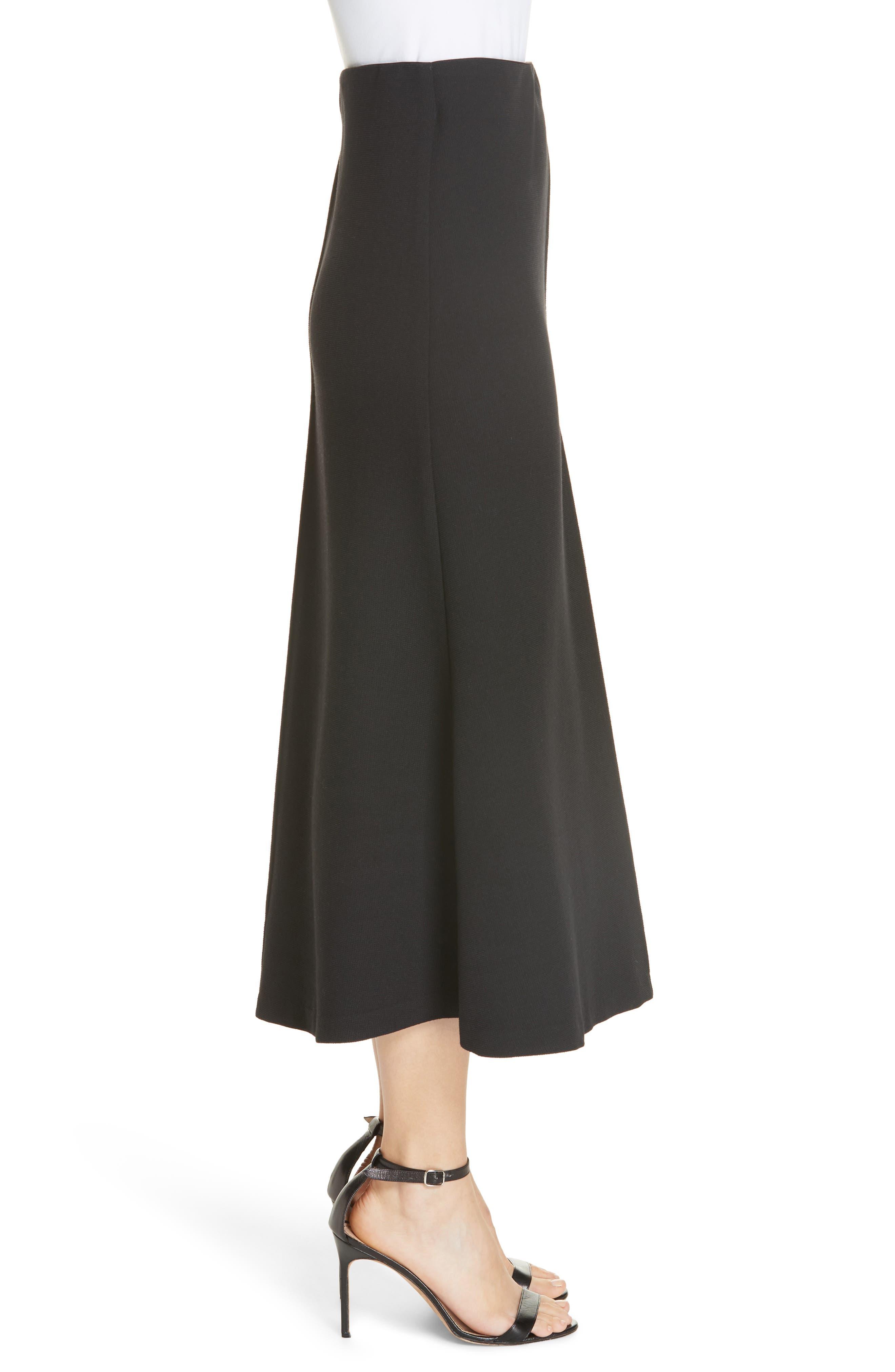 Fit & Flare Midi Skirt,                             Alternate thumbnail 3, color,                             BLACK PIQUE
