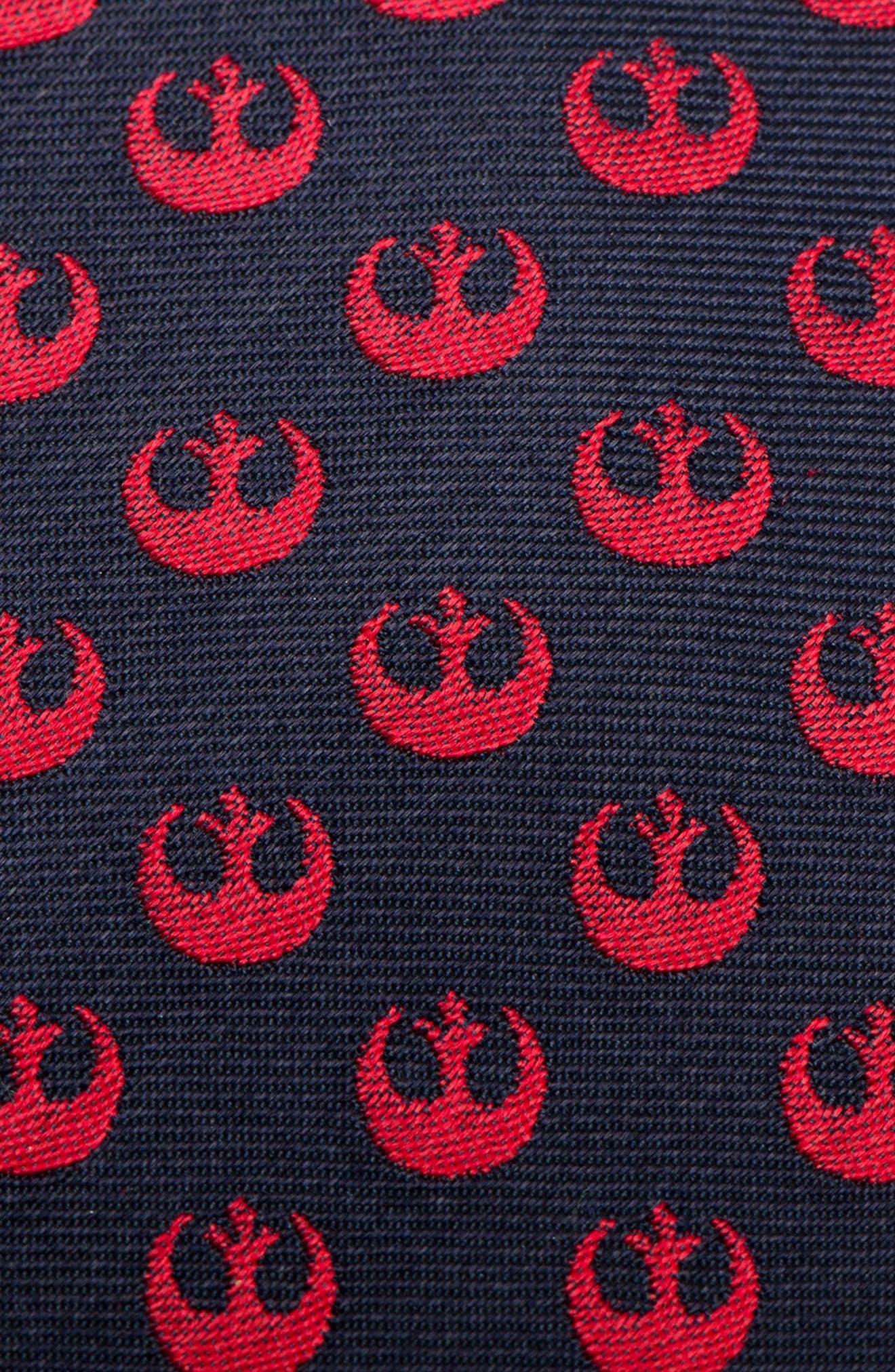 Star Wars Rebel Symbol Silk Tie,                             Alternate thumbnail 3, color,                             NAVY/ RED