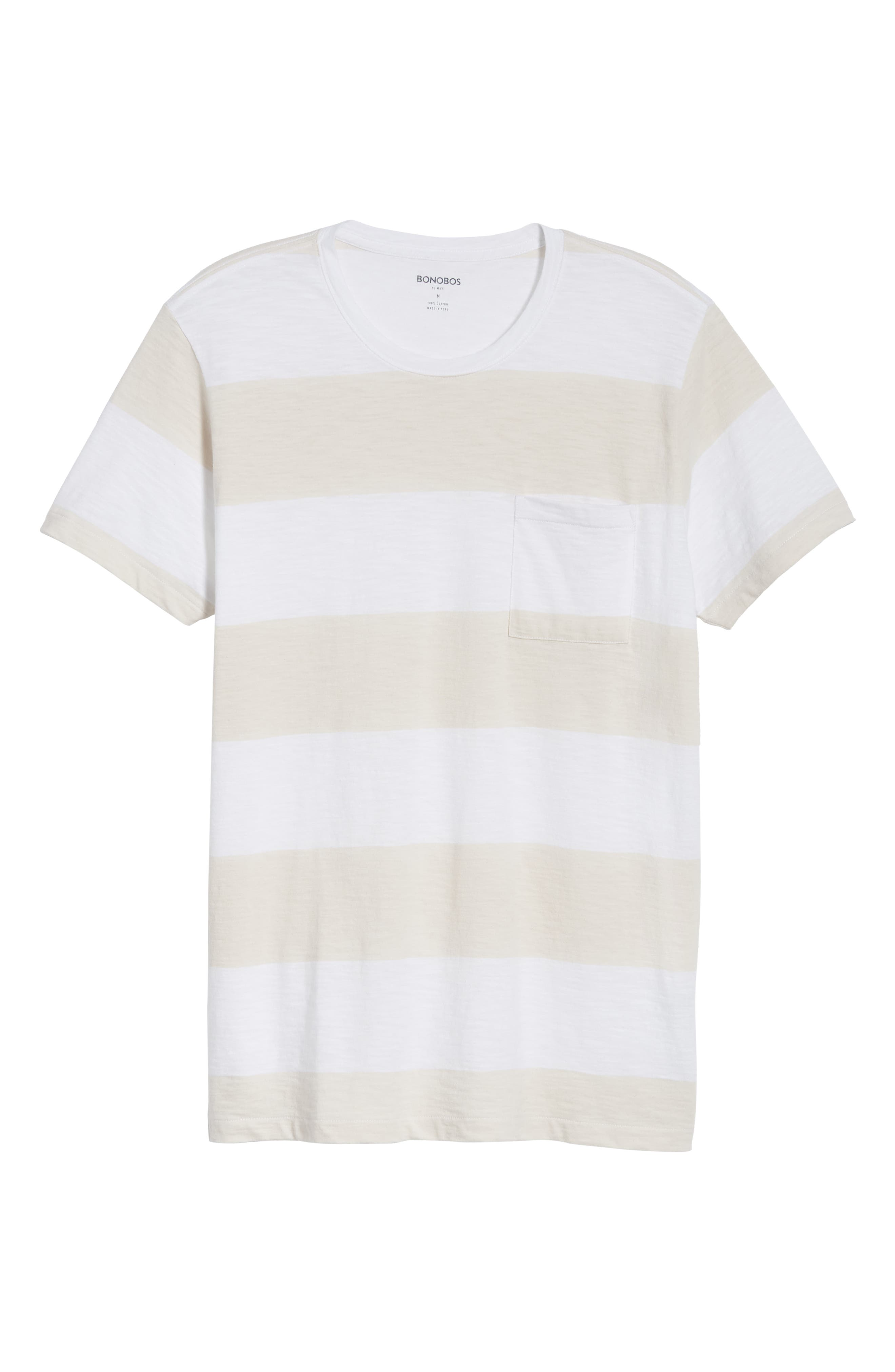Block Stripe Slim Fit Pocket T-Shirt,                             Alternate thumbnail 6, color,                             100