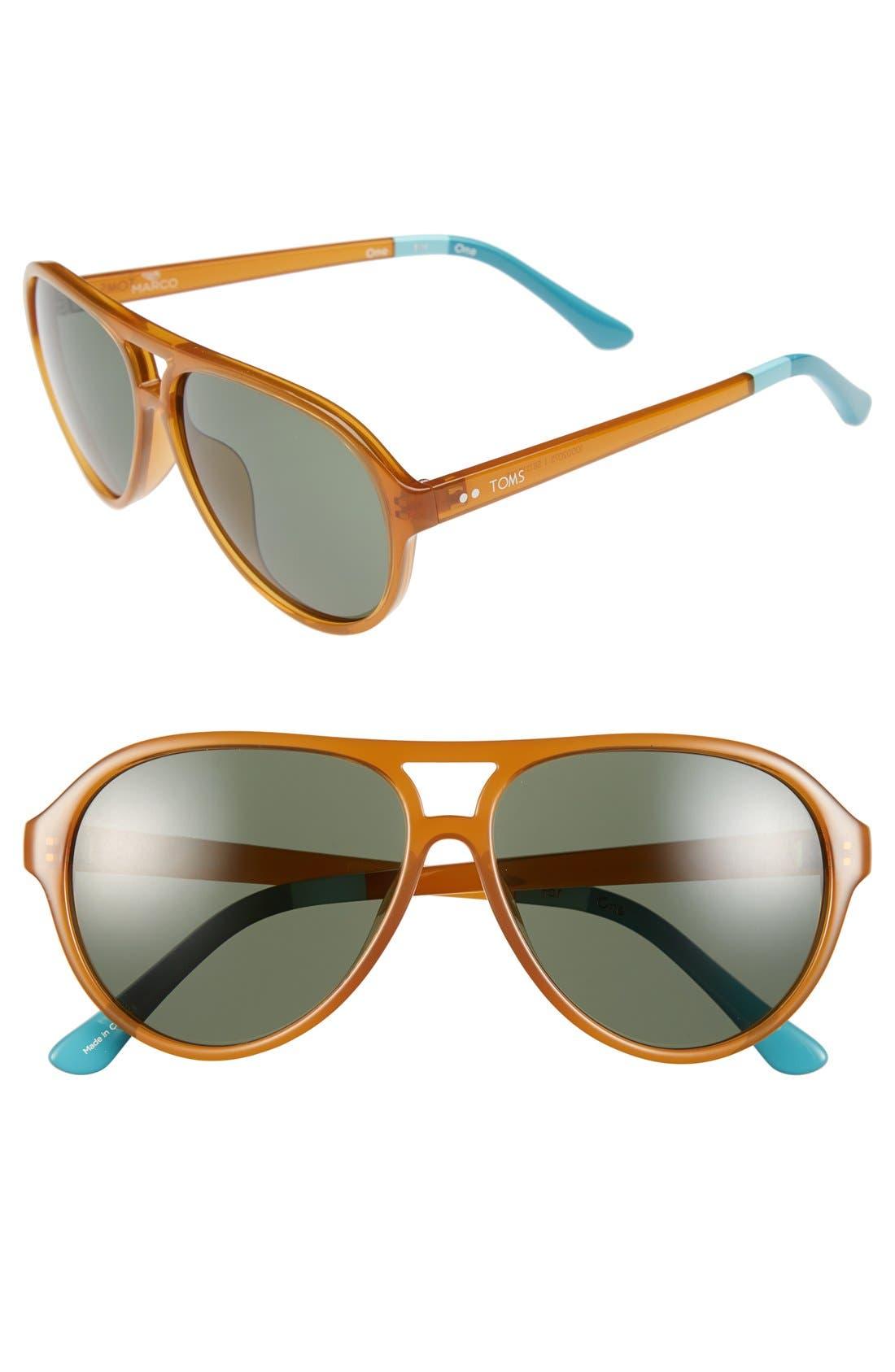 TOMS 'Marco' 58mm Aviator Sunglasses, Main, color, 220