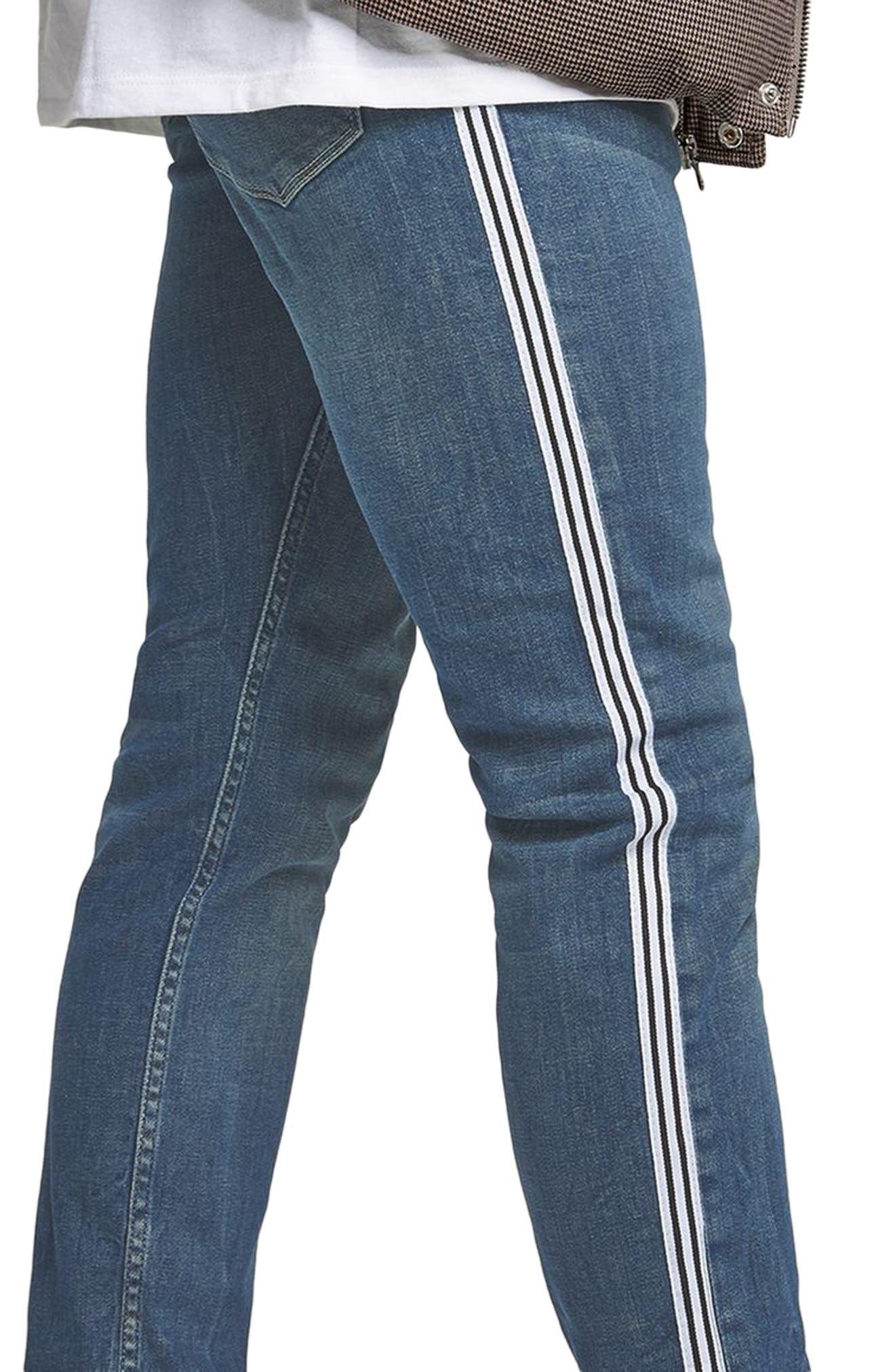 TOPMAN,                             Tape Stretch Skinny Fit Jeans,                             Alternate thumbnail 3, color,                             400