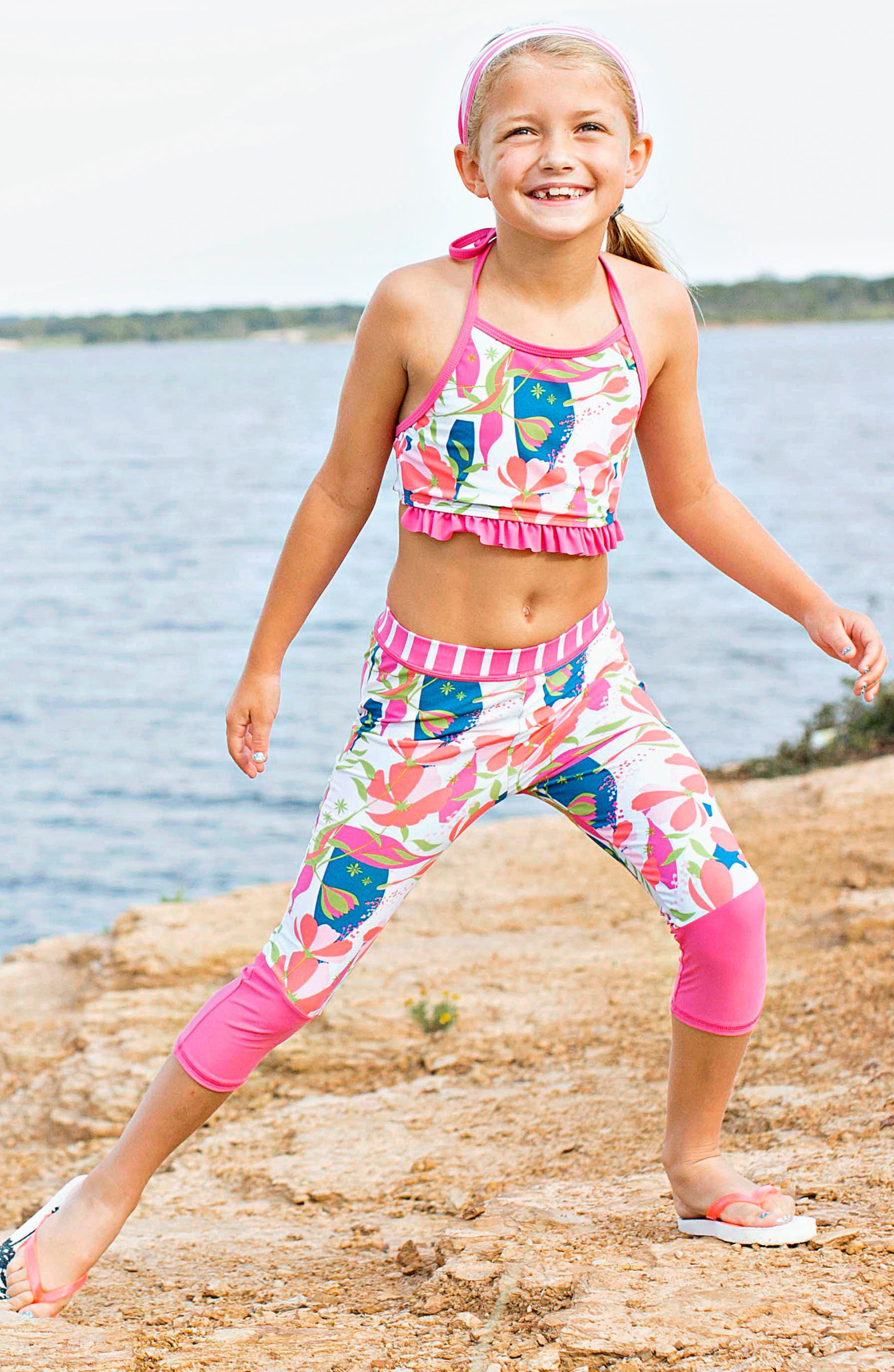 Stems Four-Piece Swimsuit & Rashguard Set,                         Main,                         color, PINK