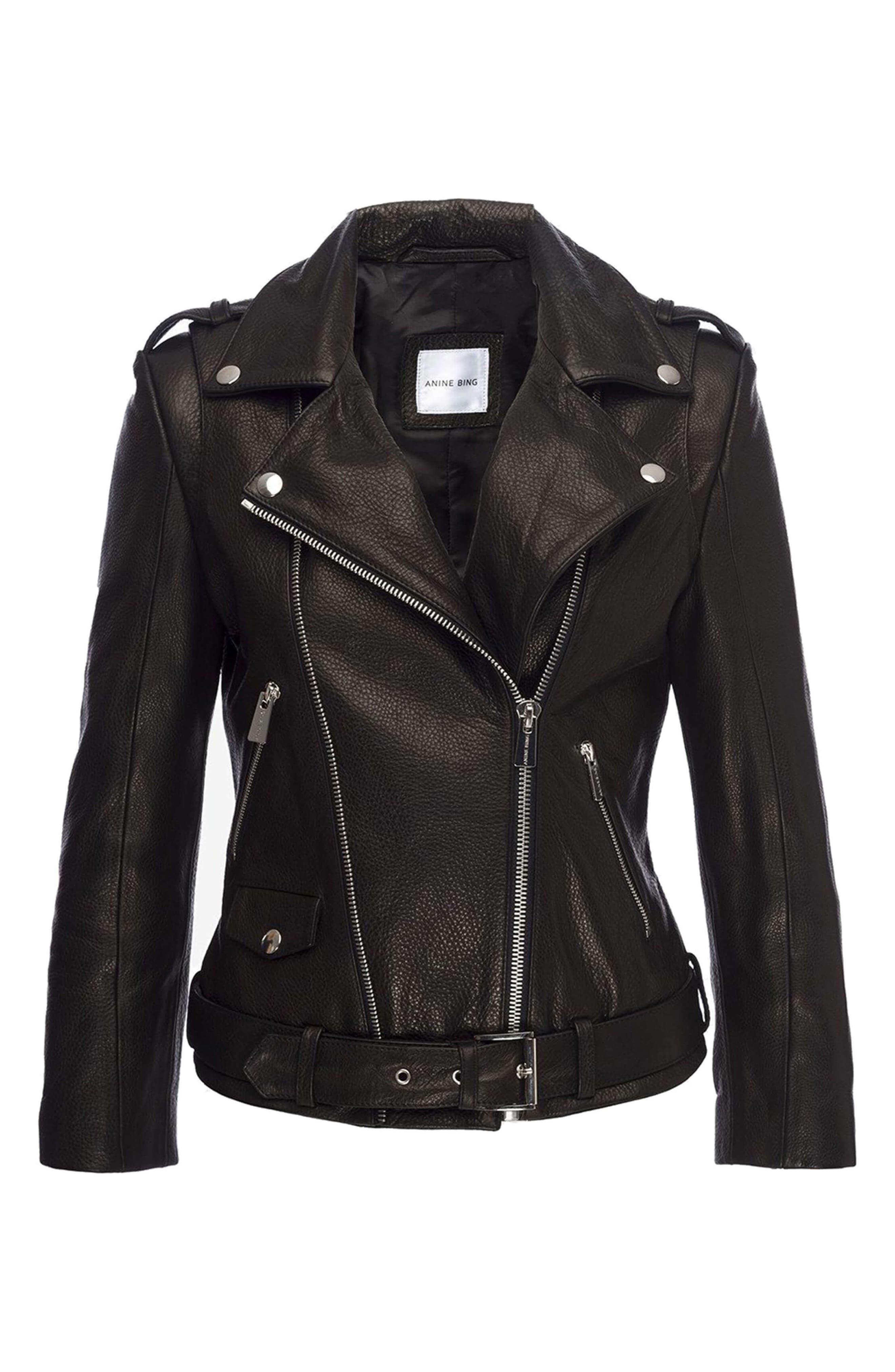Cropped Leather Moto Jacket,                             Alternate thumbnail 5, color,                             BLACK