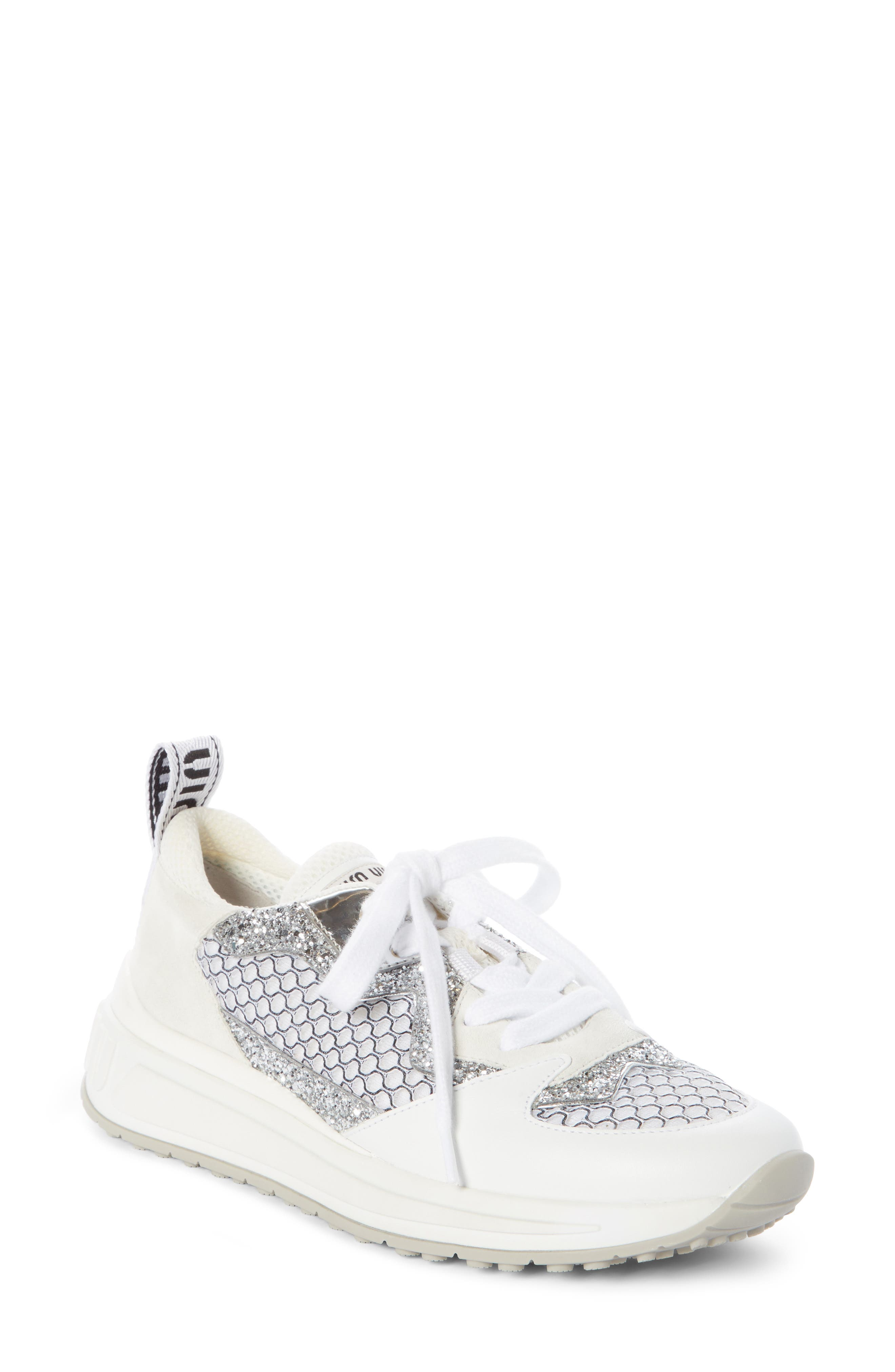 Mixed Media Platform Sneakers in White/ Silver