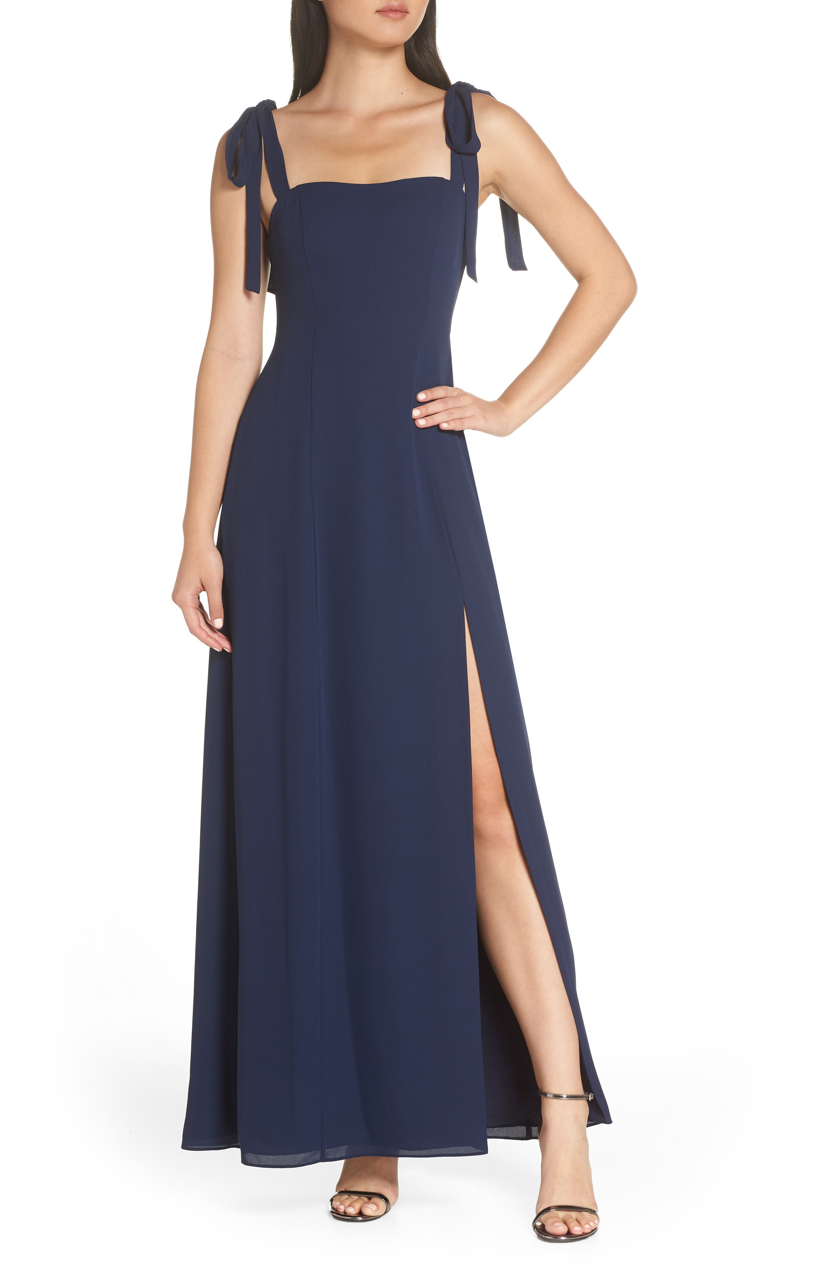 Fame And Partners Tie Shoulder Gown, Blue
