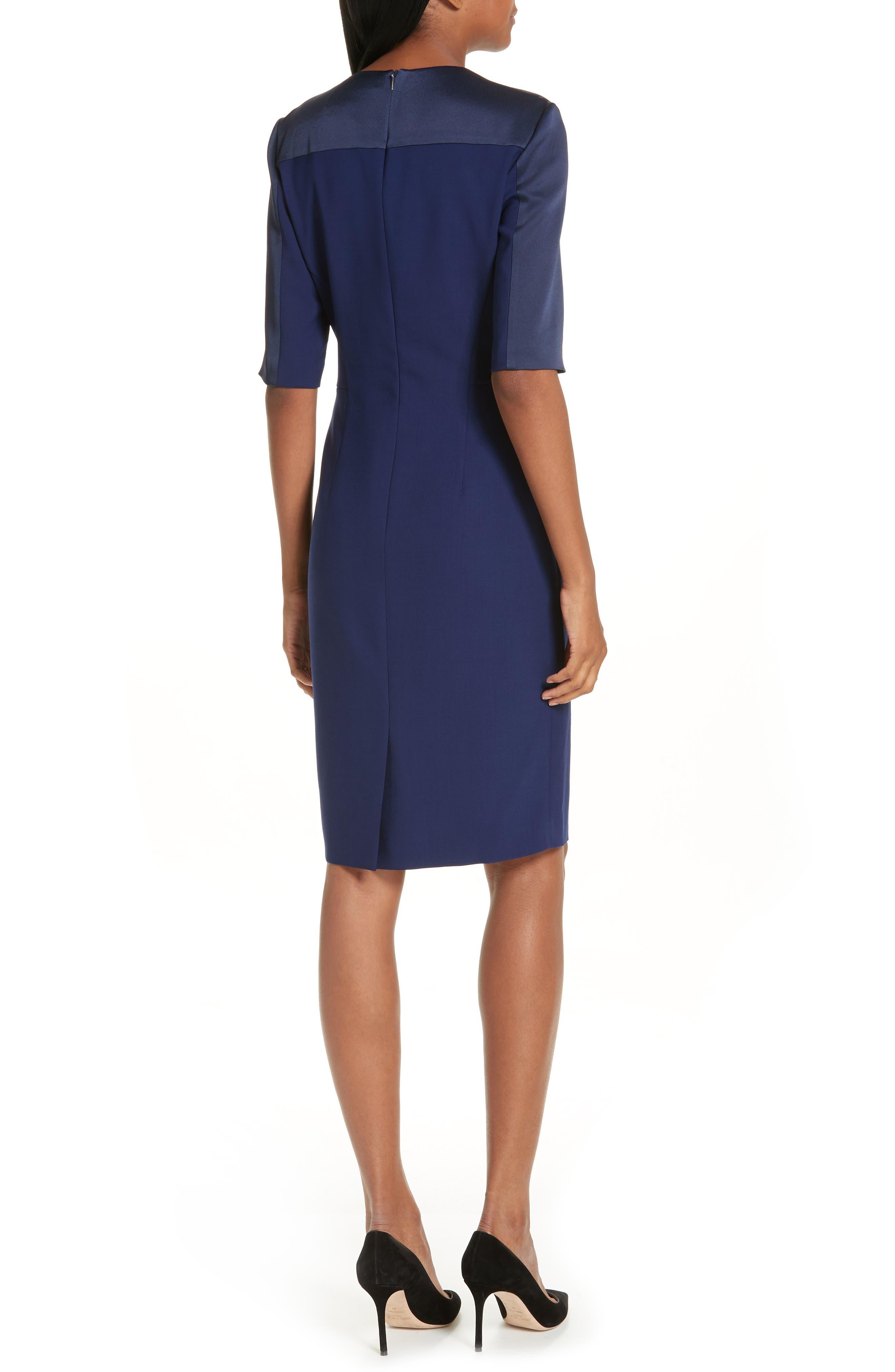 Danufa Stretch Wool Sheath Dress,                             Alternate thumbnail 2, color,                             INK BLUE