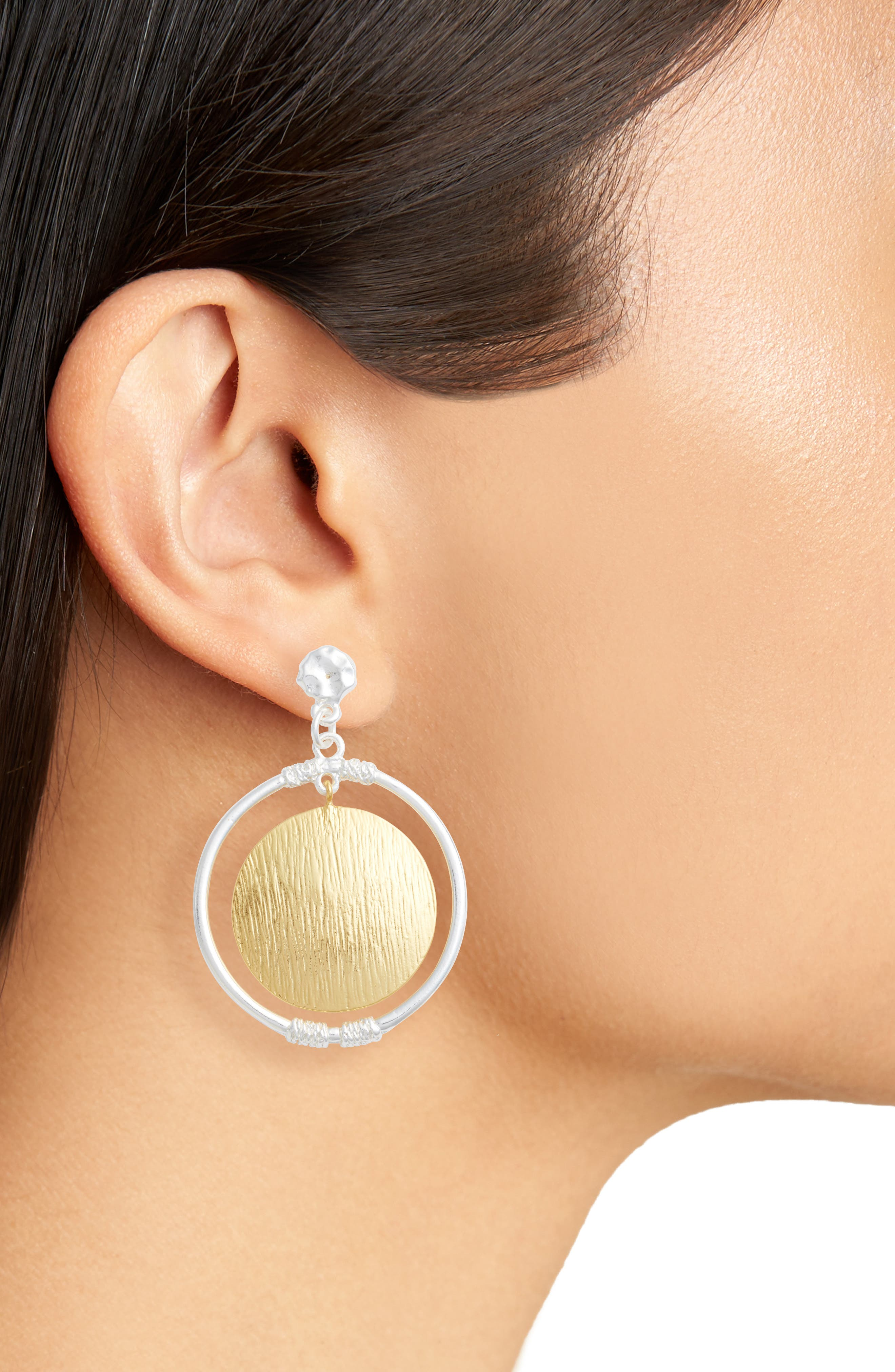 Two-Tone Drop Earrings,                             Alternate thumbnail 2, color,                             SILVER/GOLD MIX