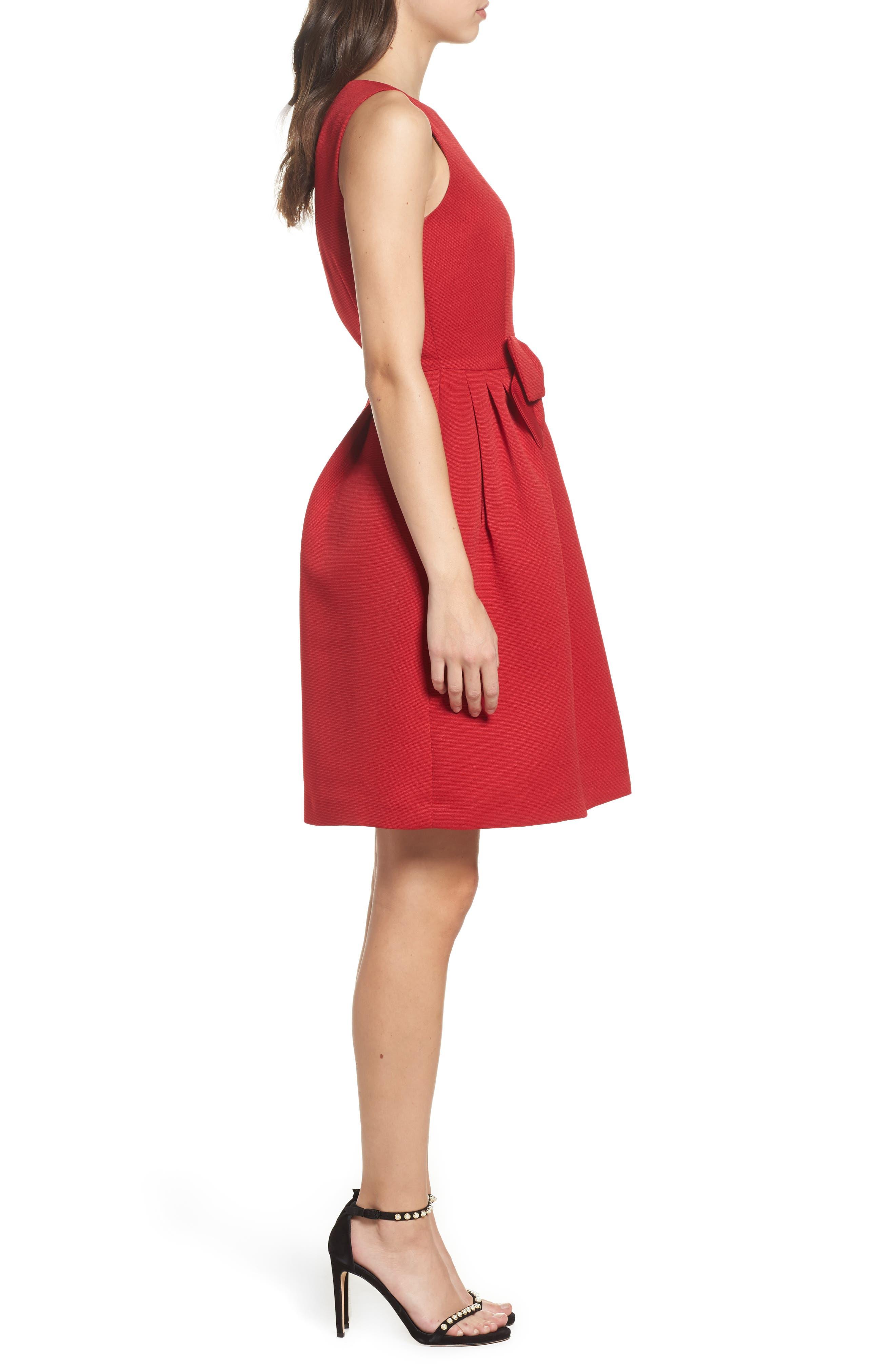 Bow Front A-Line Dress,                             Alternate thumbnail 5, color,