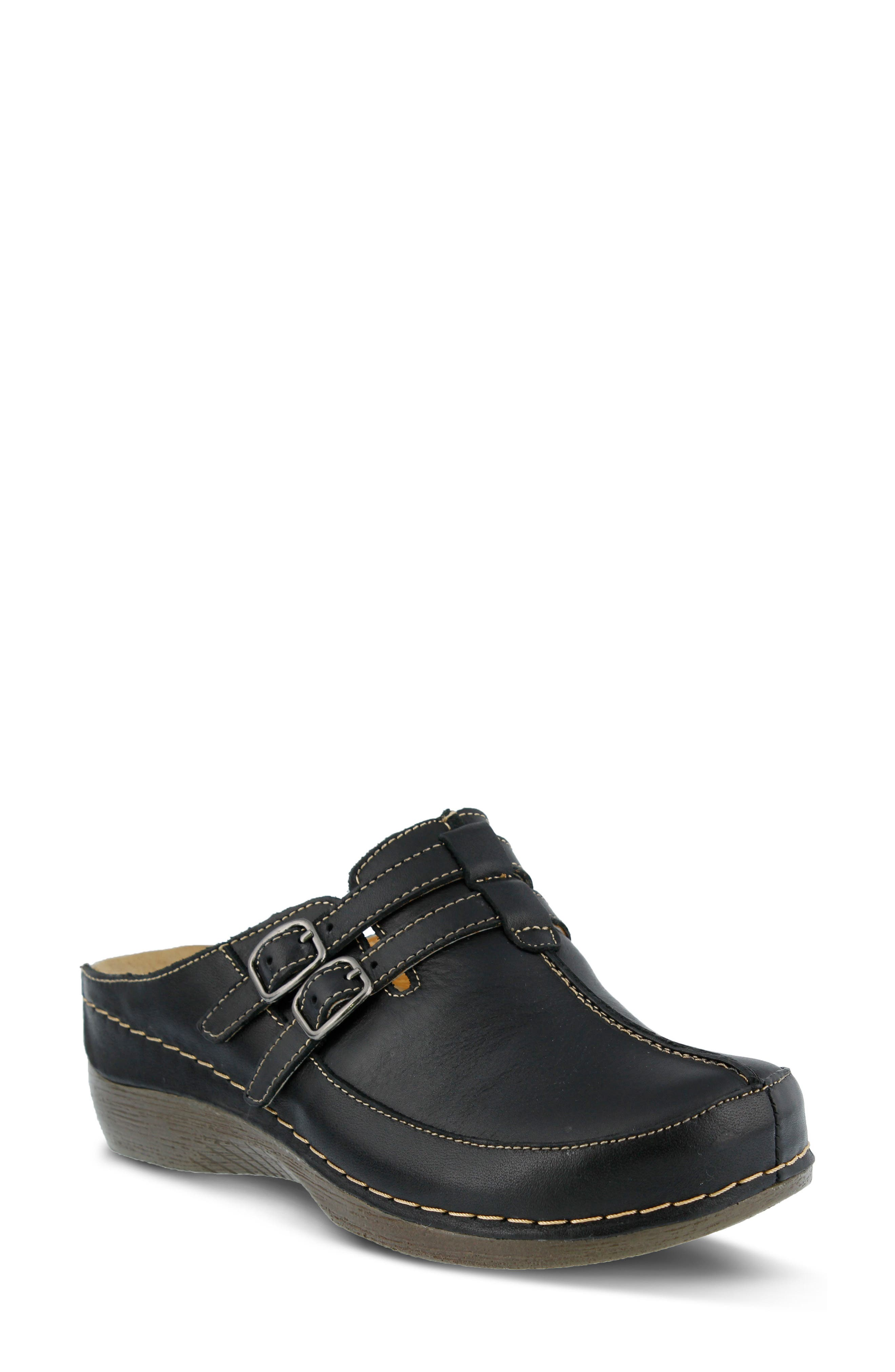 SPRING STEP,                             Happy Clog,                             Main thumbnail 1, color,                             BLACK LEATHER