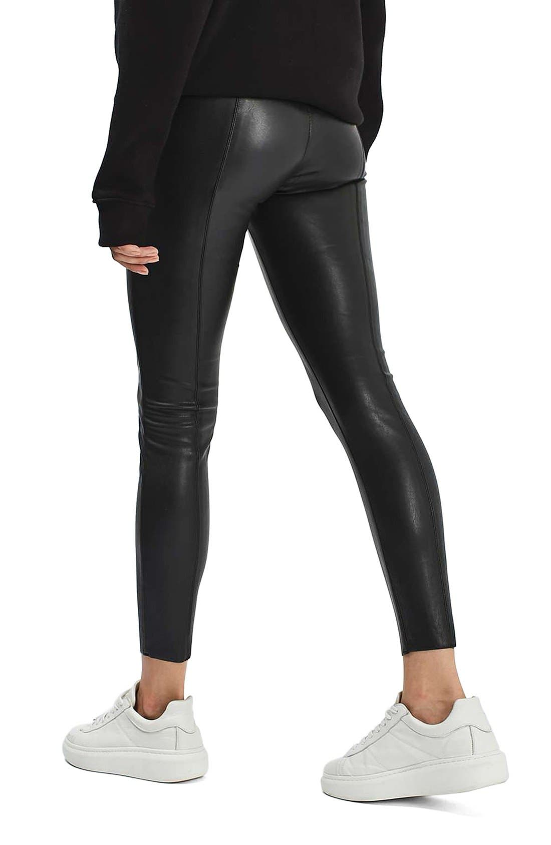 Percy Faux Leather Skinny Pants,                             Alternate thumbnail 2, color,                             001