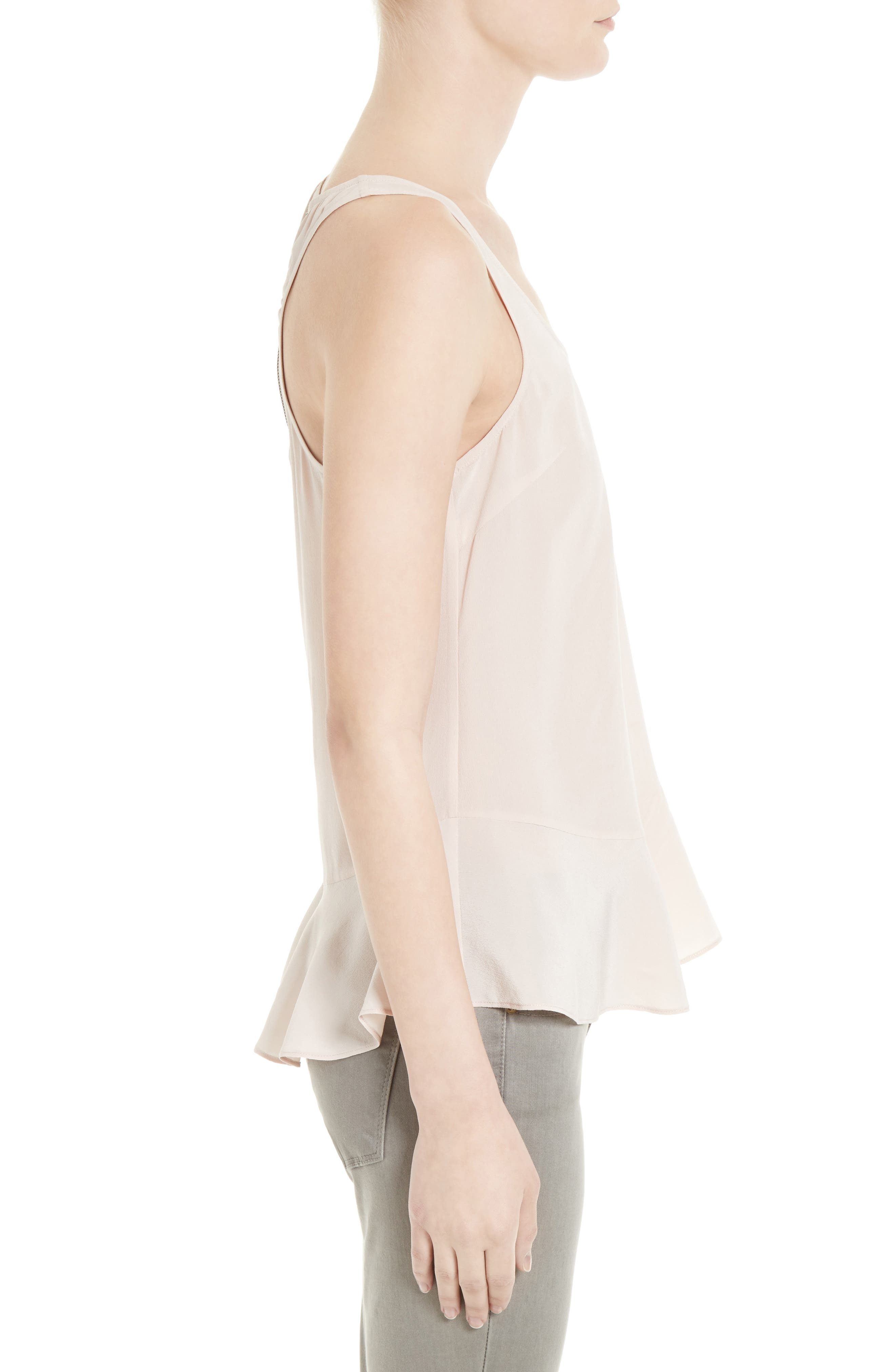 Cosma Silk Flounce Hem Tank,                             Alternate thumbnail 6, color,