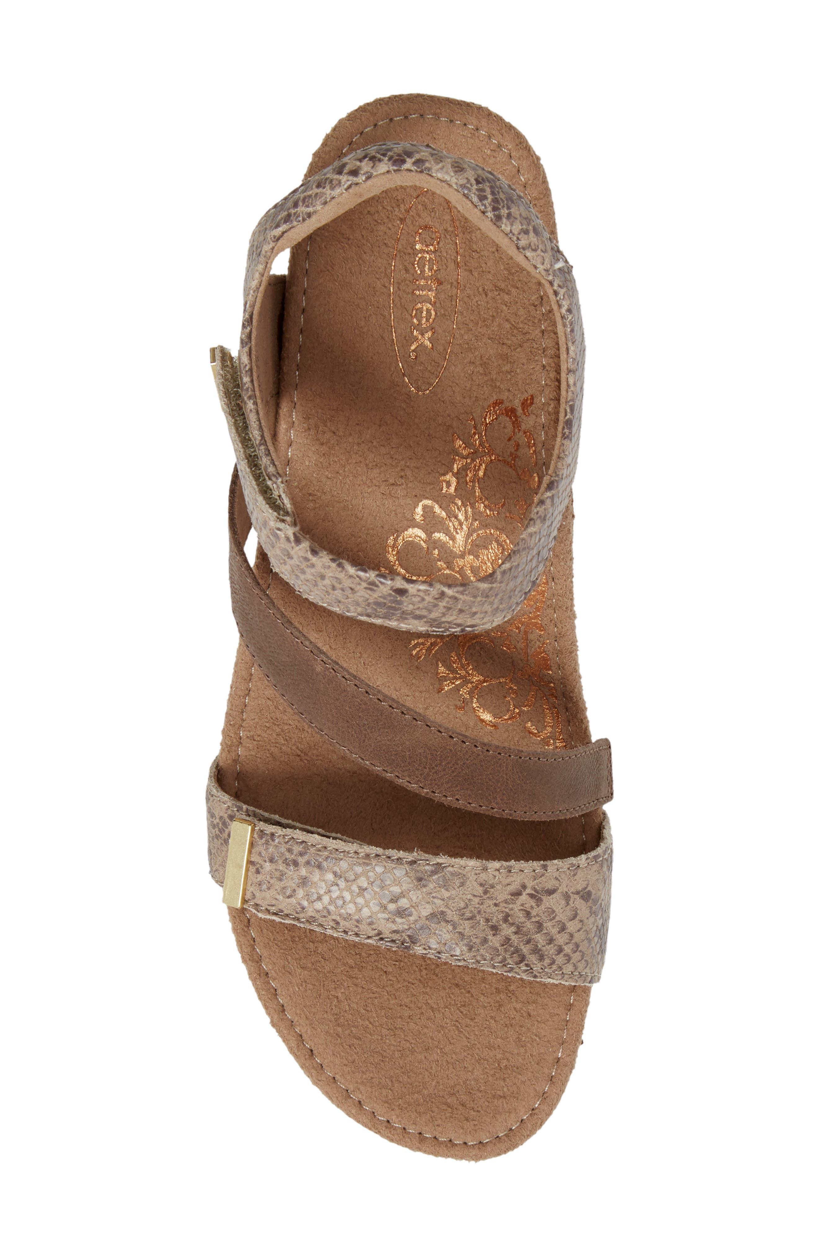 Brynn Asymmetrical Wedge Sandal,                             Alternate thumbnail 5, color,                             STONE SNAKE LEATHER
