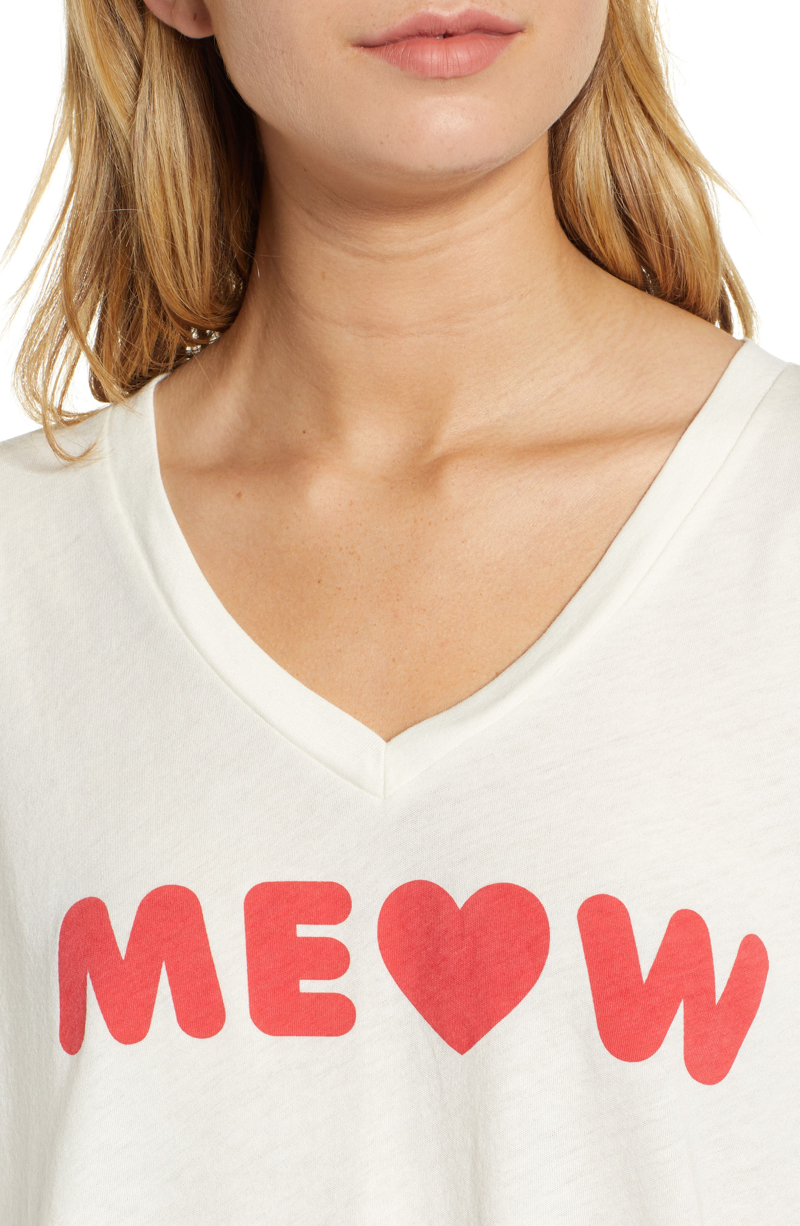 Romeo Meow V-Neck Tee,                             Alternate thumbnail 4, color,                             VINTAGE LA