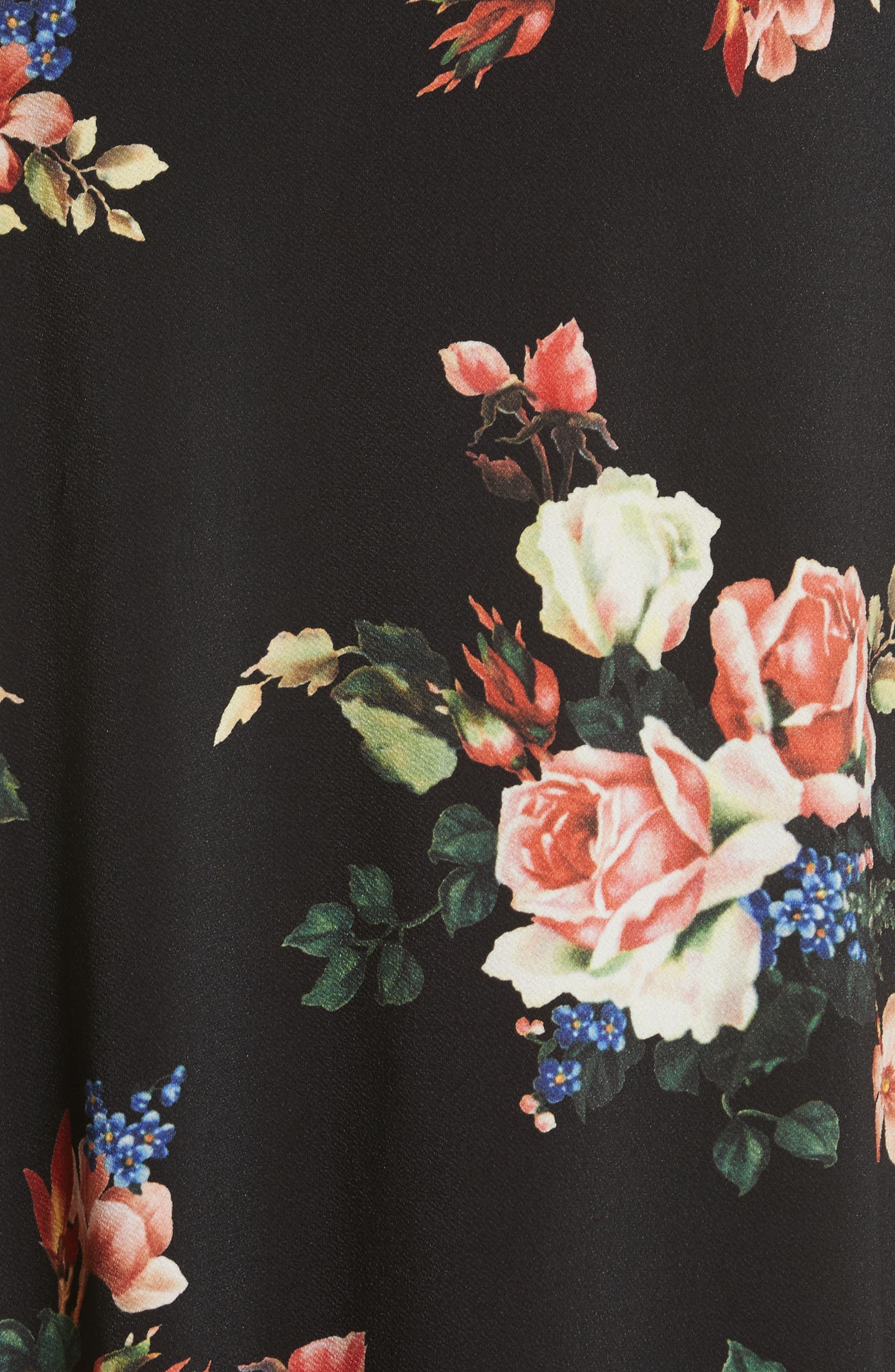 Drape Panel Floral Dress,                             Alternate thumbnail 5, color,