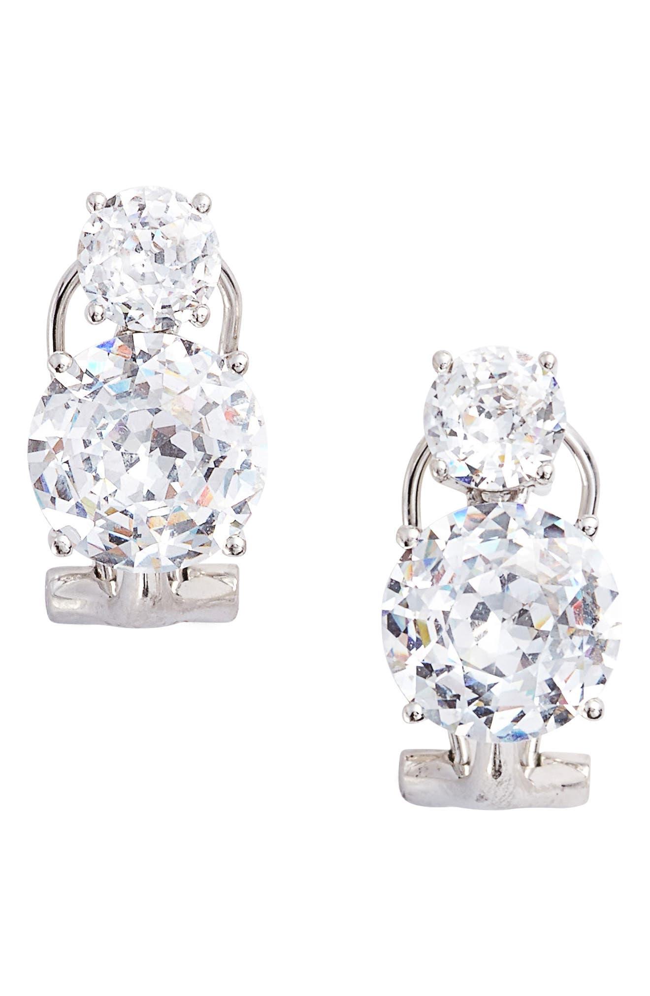 Double Cubic Zirconia Clip Stud Earrings,                             Main thumbnail 1, color,                             SILVER