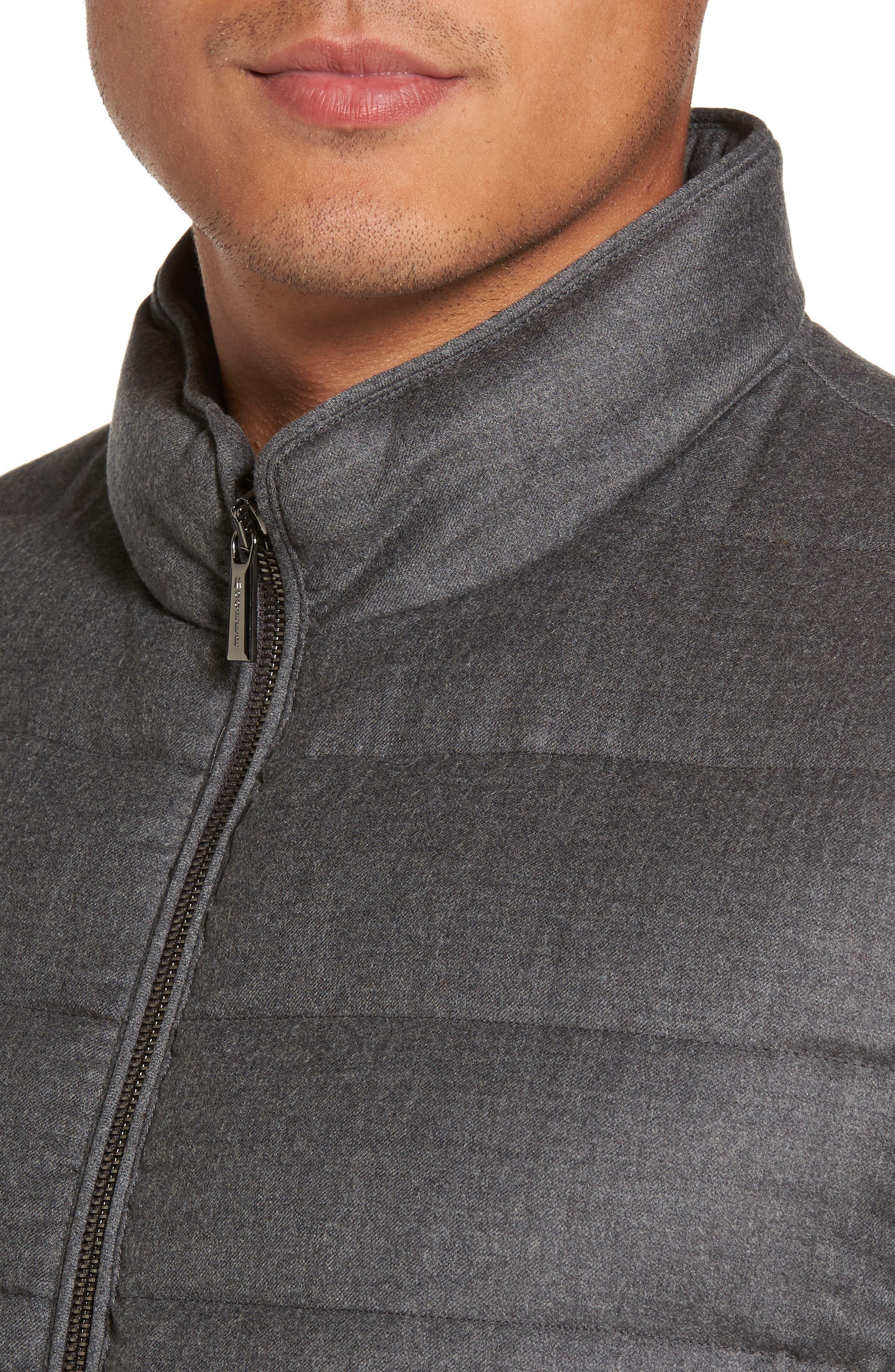 Oliver L Wool & Cashmere Flannel Waterproof Vest,                             Alternate thumbnail 4, color,                             030