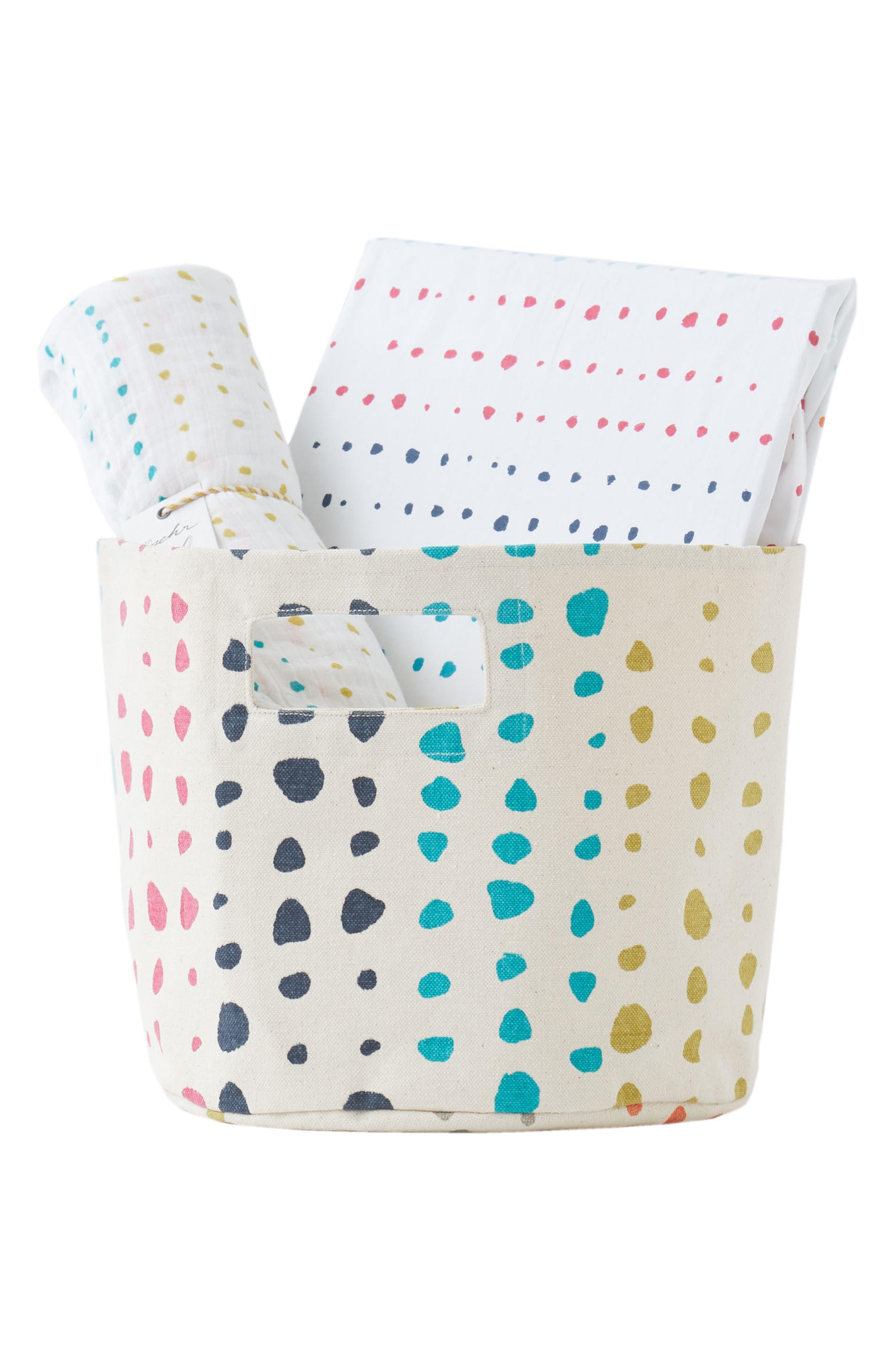 Painted Dots Crib Sheet, Swaddle & Bin Set,                             Main thumbnail 1, color,                             900