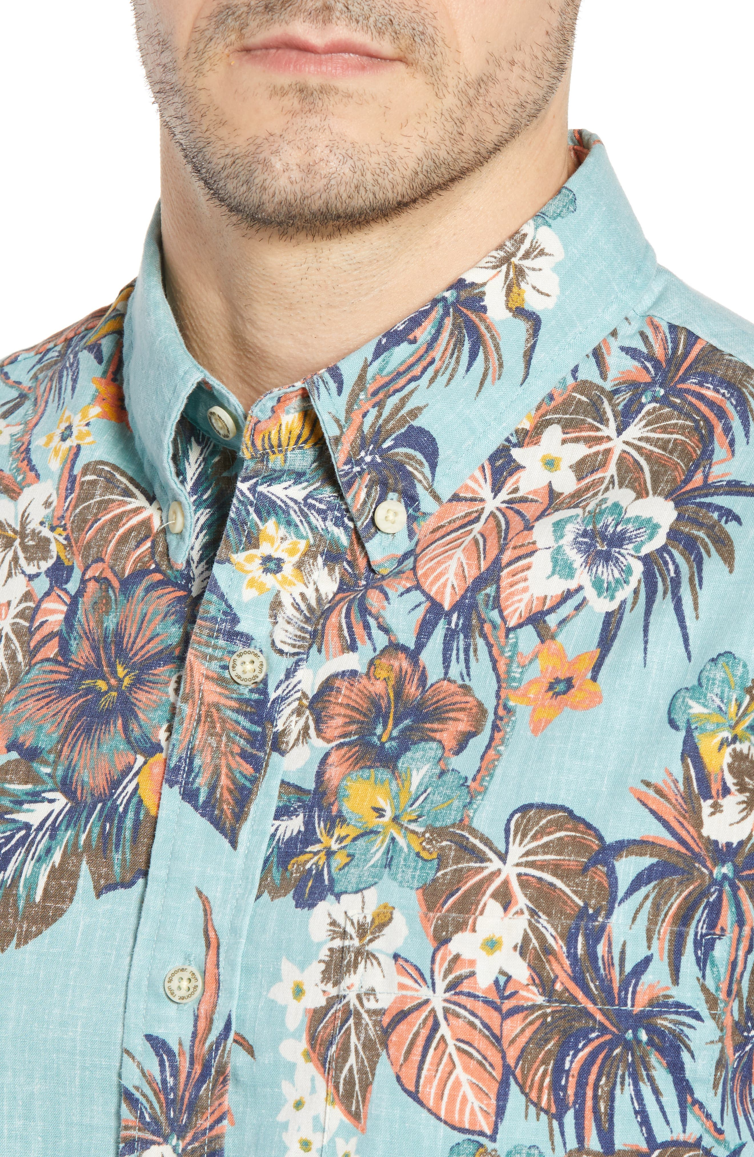 Pupas & Mai Tais Regular Fit Sport Shirt,                             Alternate thumbnail 4, color,                             BLUE 2