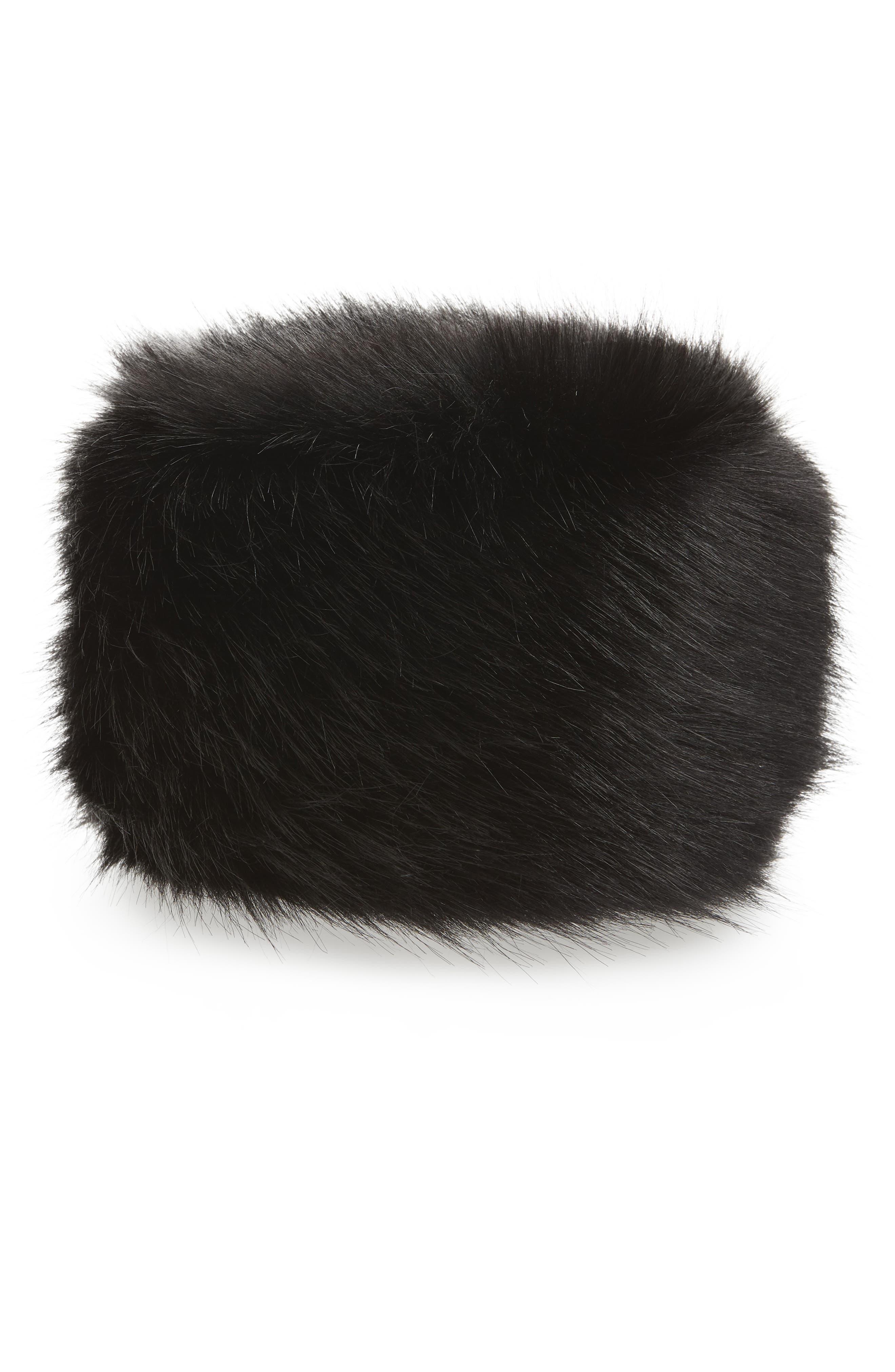 Faux Fur Hat,                             Main thumbnail 1, color,                             BLACK