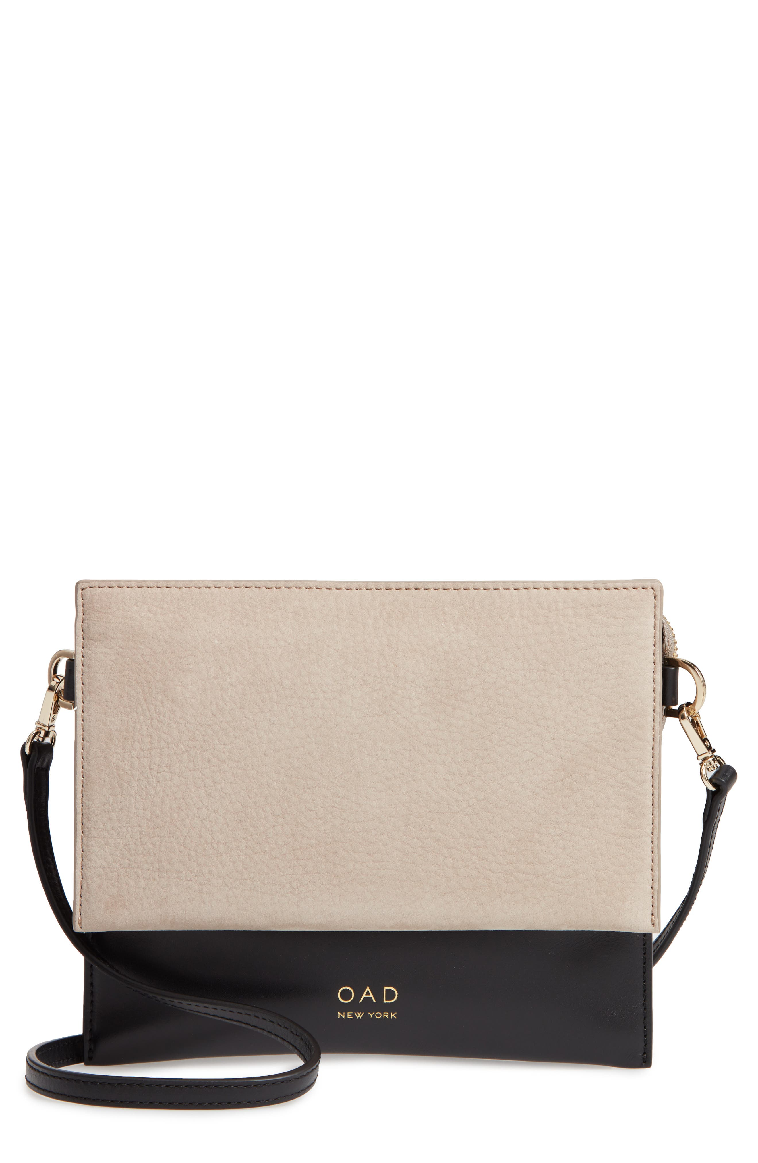 Triple Leather & Suede Crossbody Bag,                         Main,                         color, TAUPE/ TRUE BLACK