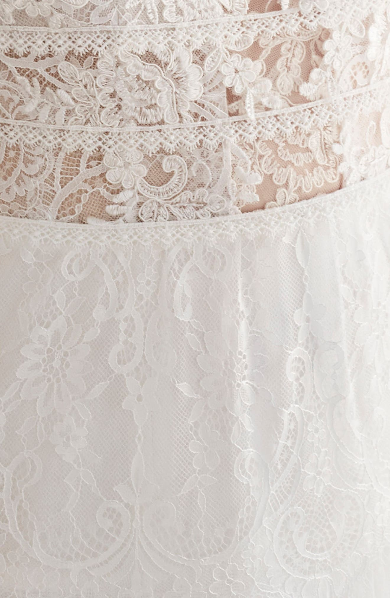 Inmaculada García Olivinia Lace A-Line Gown,                             Alternate thumbnail 3, color,                             IVORY