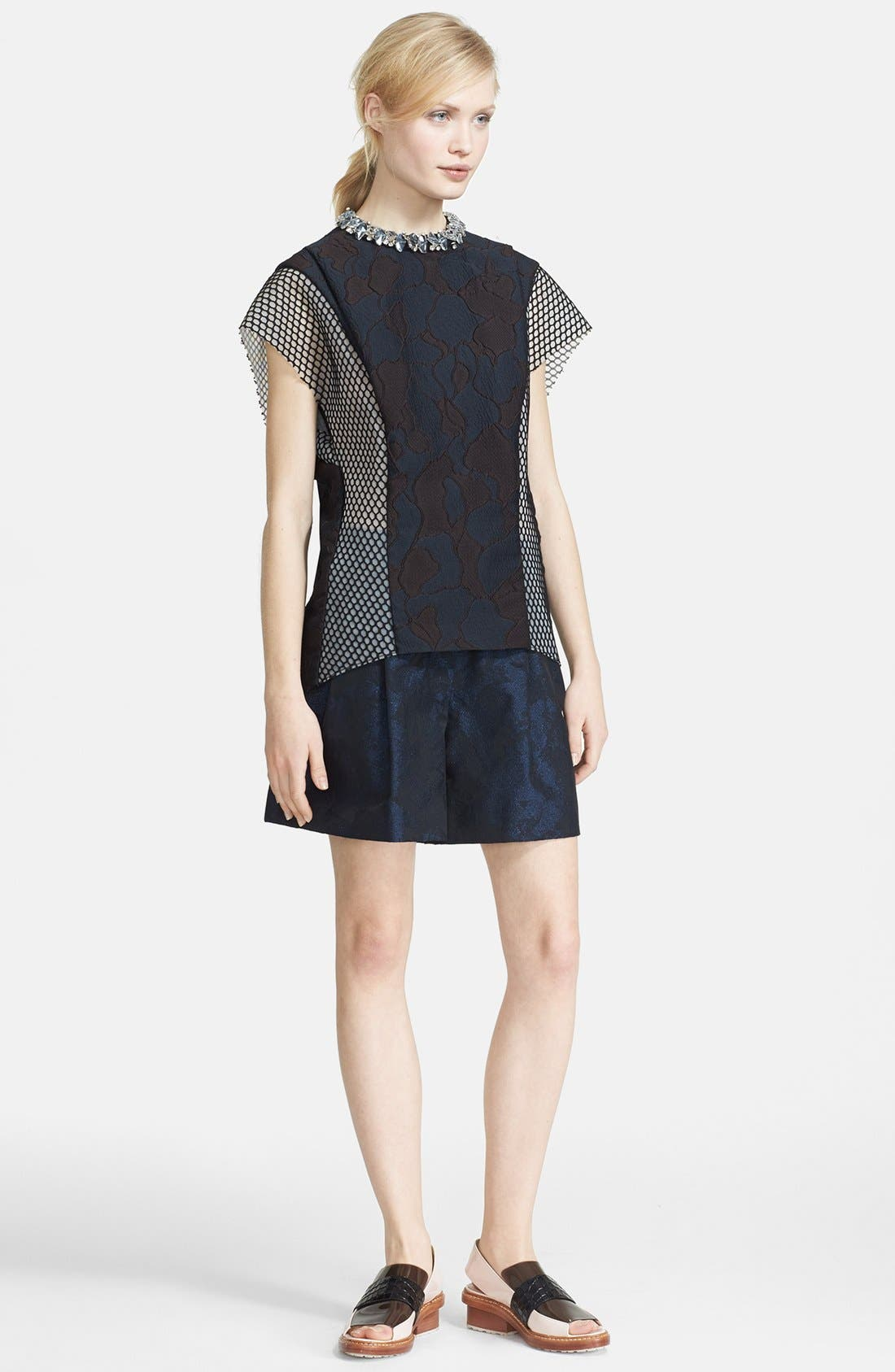 3.1 PHILLIP LIM,                             Mesh Inset Top with Crystal Rocks Neckline,                             Main thumbnail 1, color,                             440