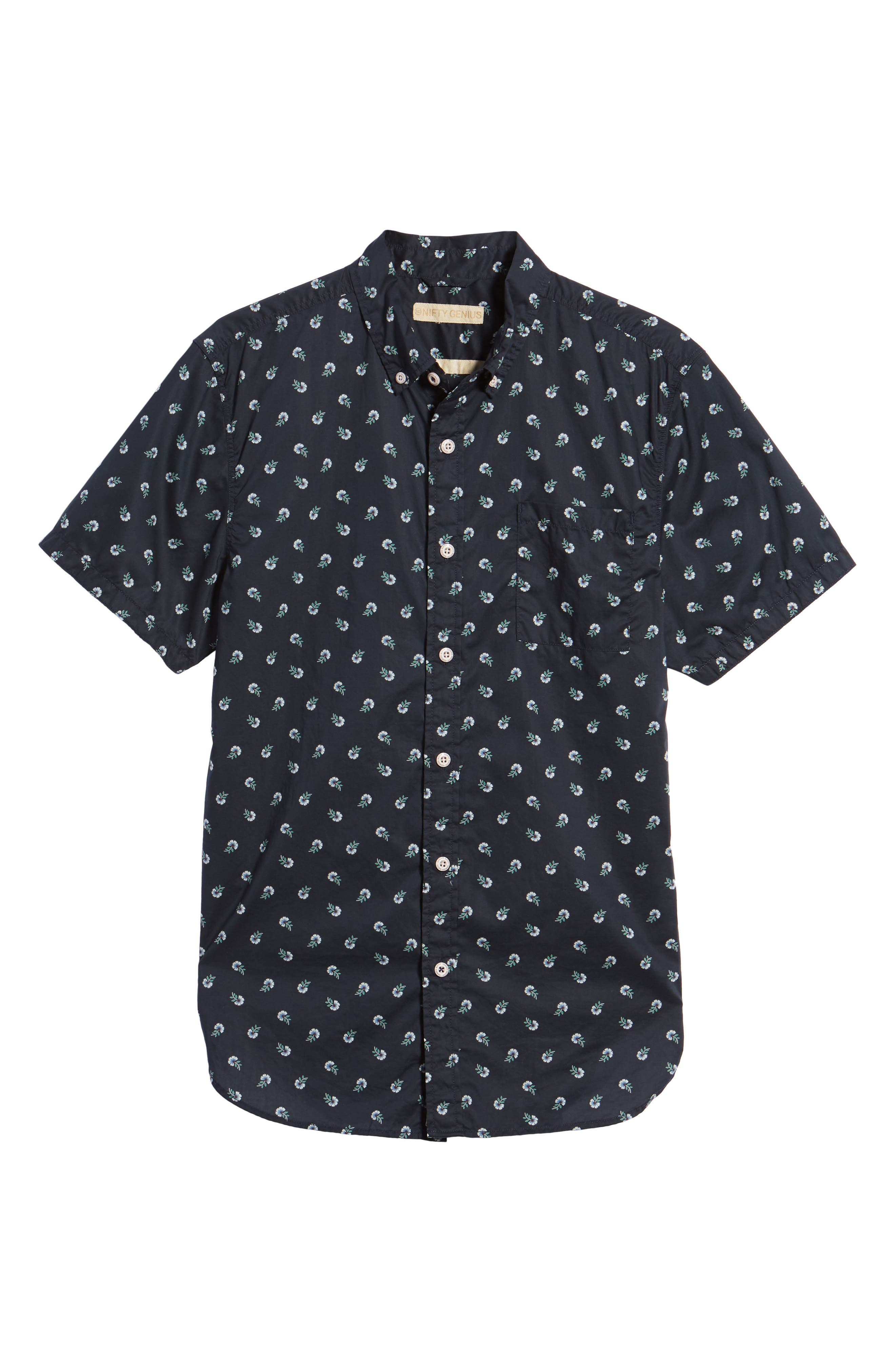 Truman Slim Fit Print Sport Shirt,                             Alternate thumbnail 6, color,                             NAVY