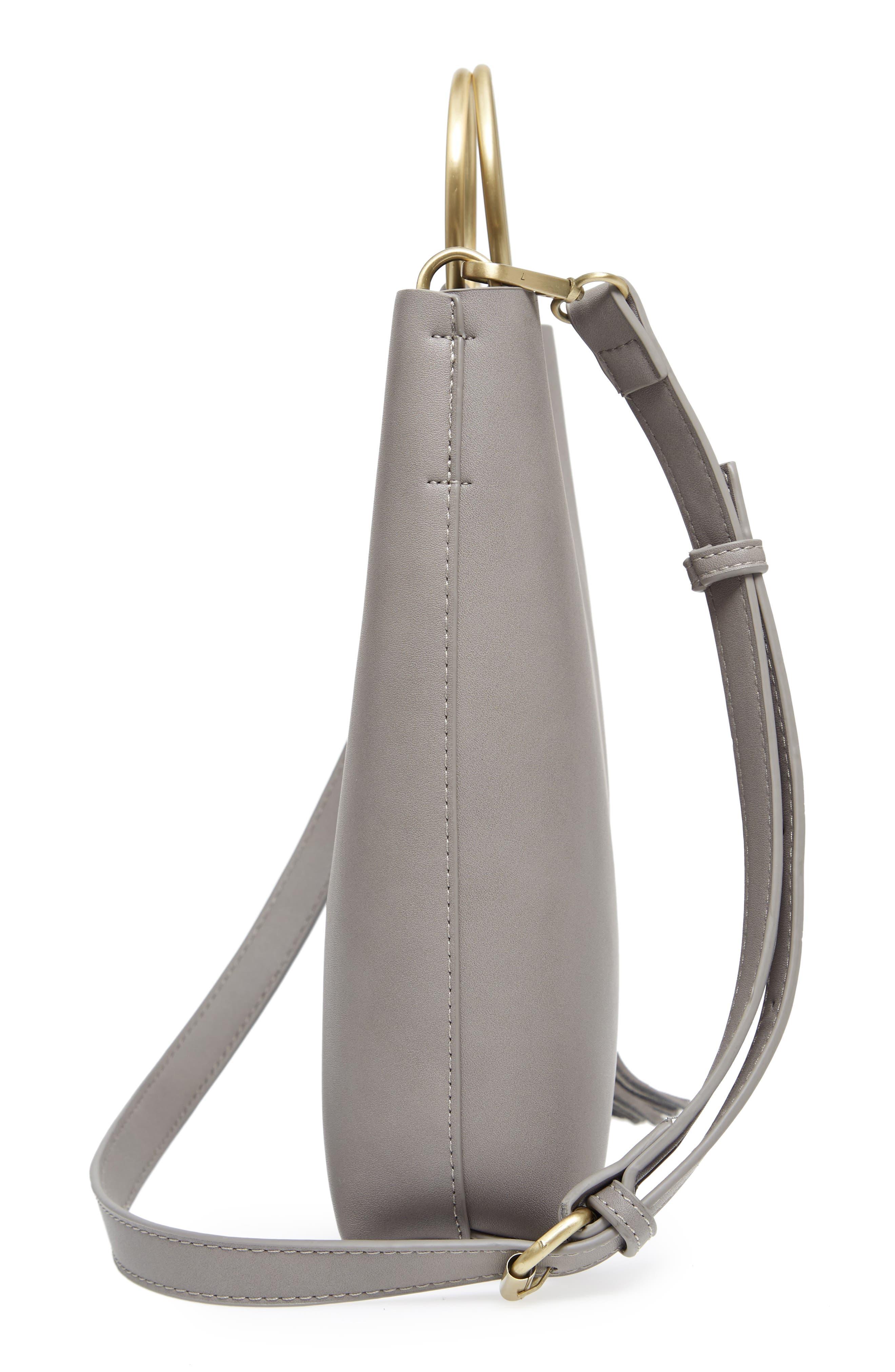 Metal Handle Faux Leather Crossbody Bag,                             Alternate thumbnail 5, color,                             020