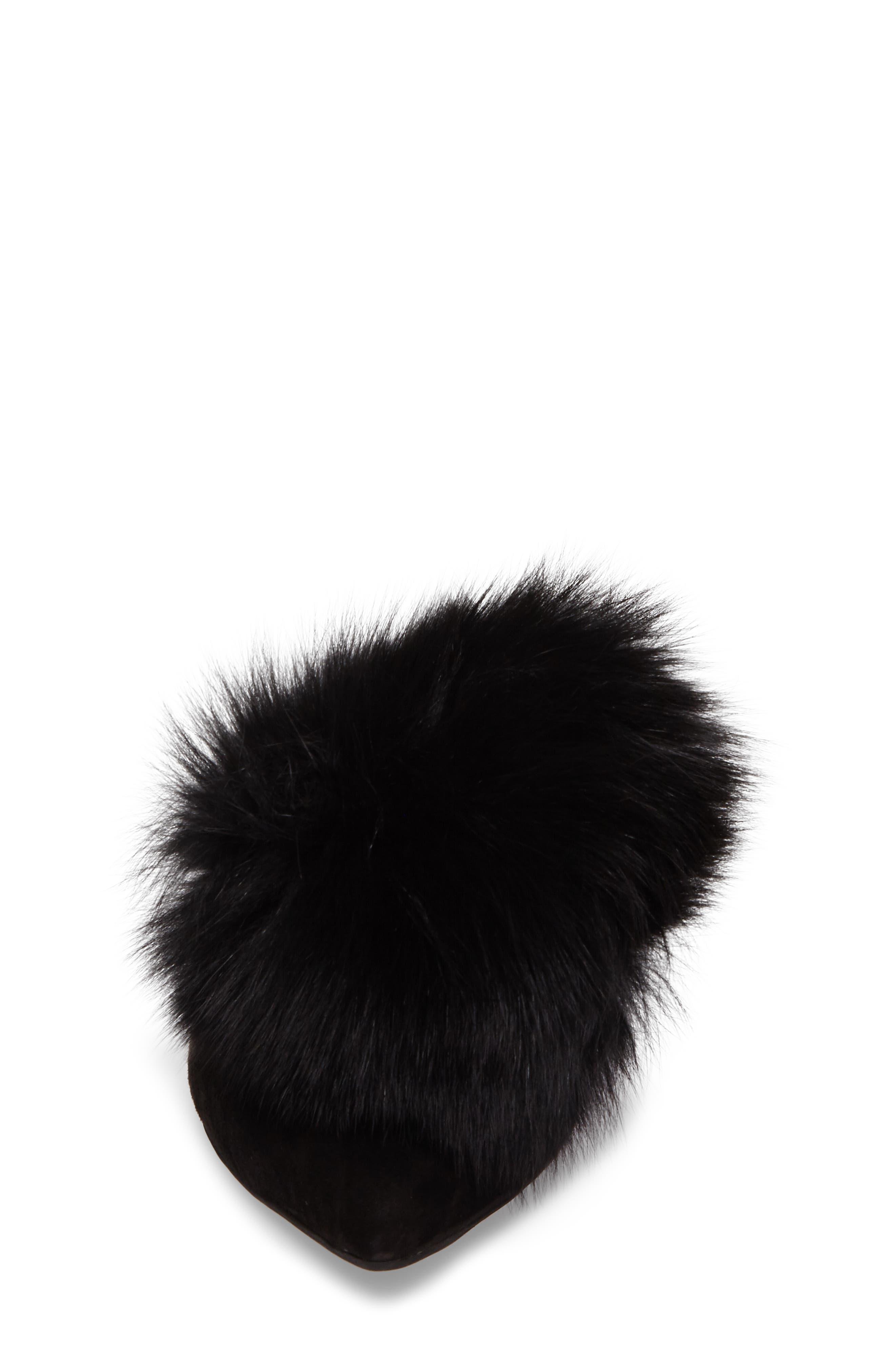 Claes Genuine Fur Pompom Mule,                             Alternate thumbnail 4, color,                             007