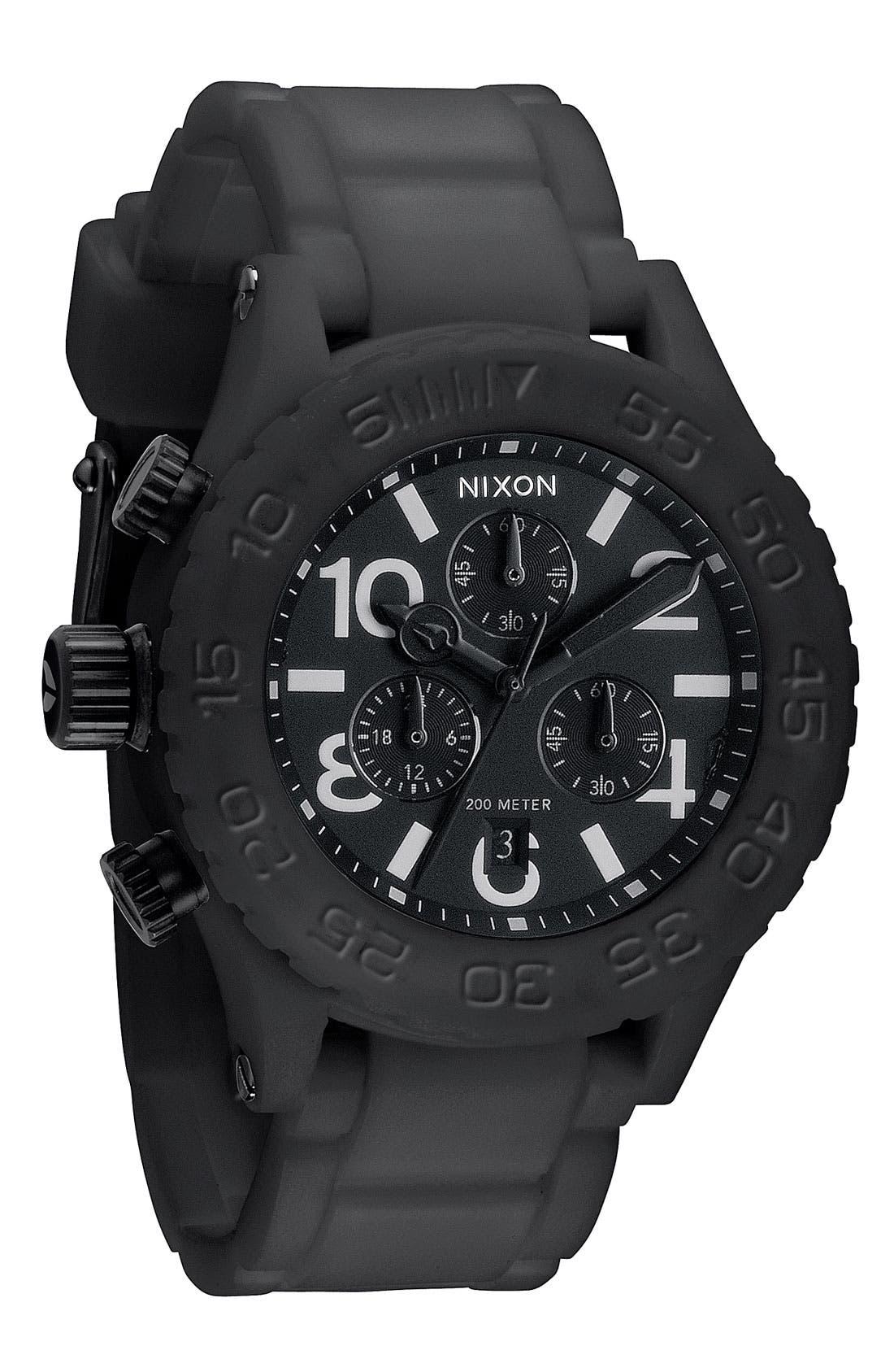 NIXON,                             'The 42-20 Rubber Chrono' Watch,                             Main thumbnail 1, color,                             001