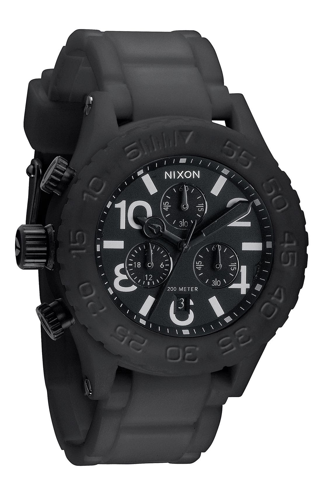 NIXON 'The 42-20 Rubber Chrono' Watch, Main, color, 001