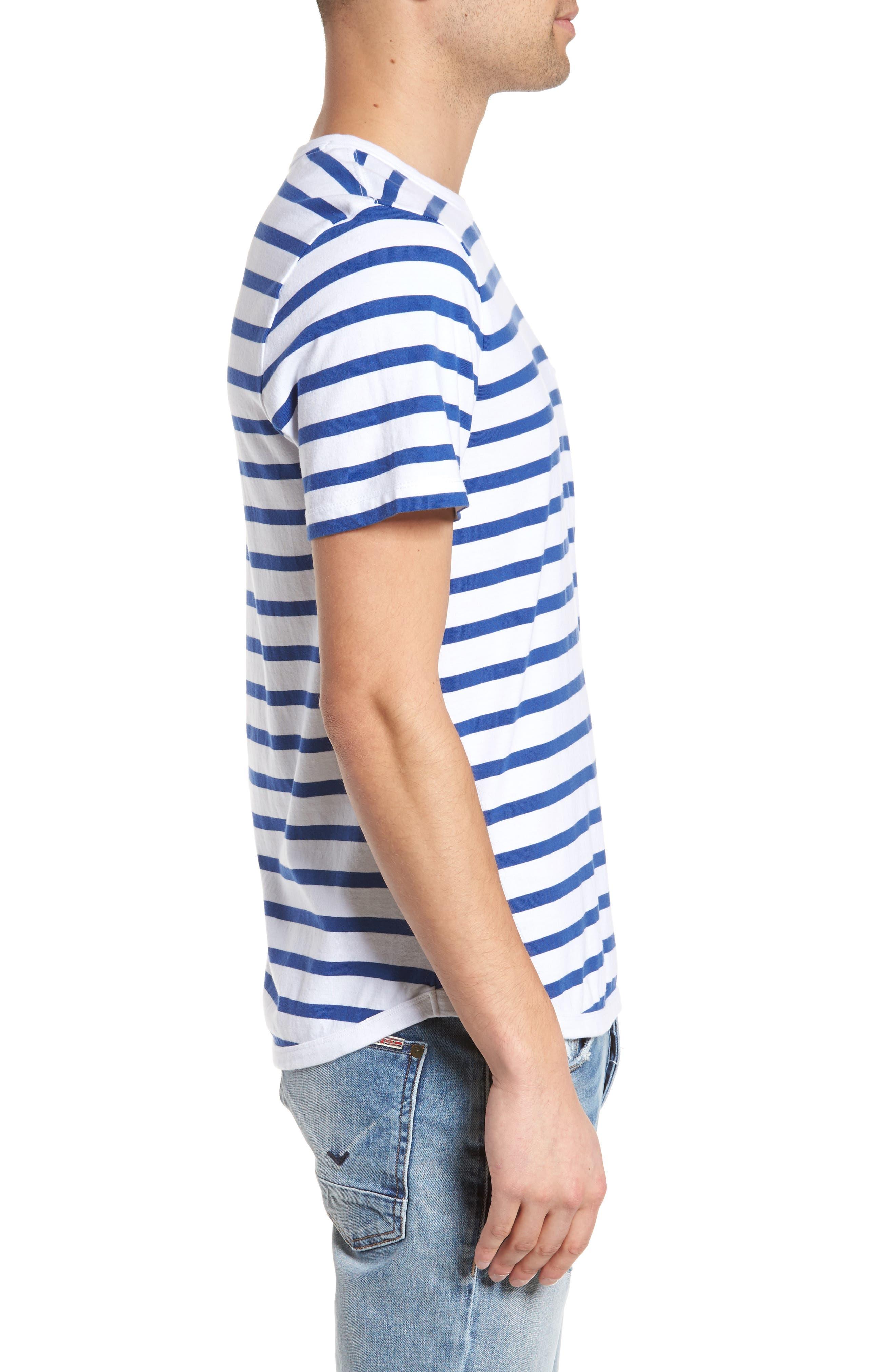 Striped Crewneck T-Shirt,                             Alternate thumbnail 3, color,                             420