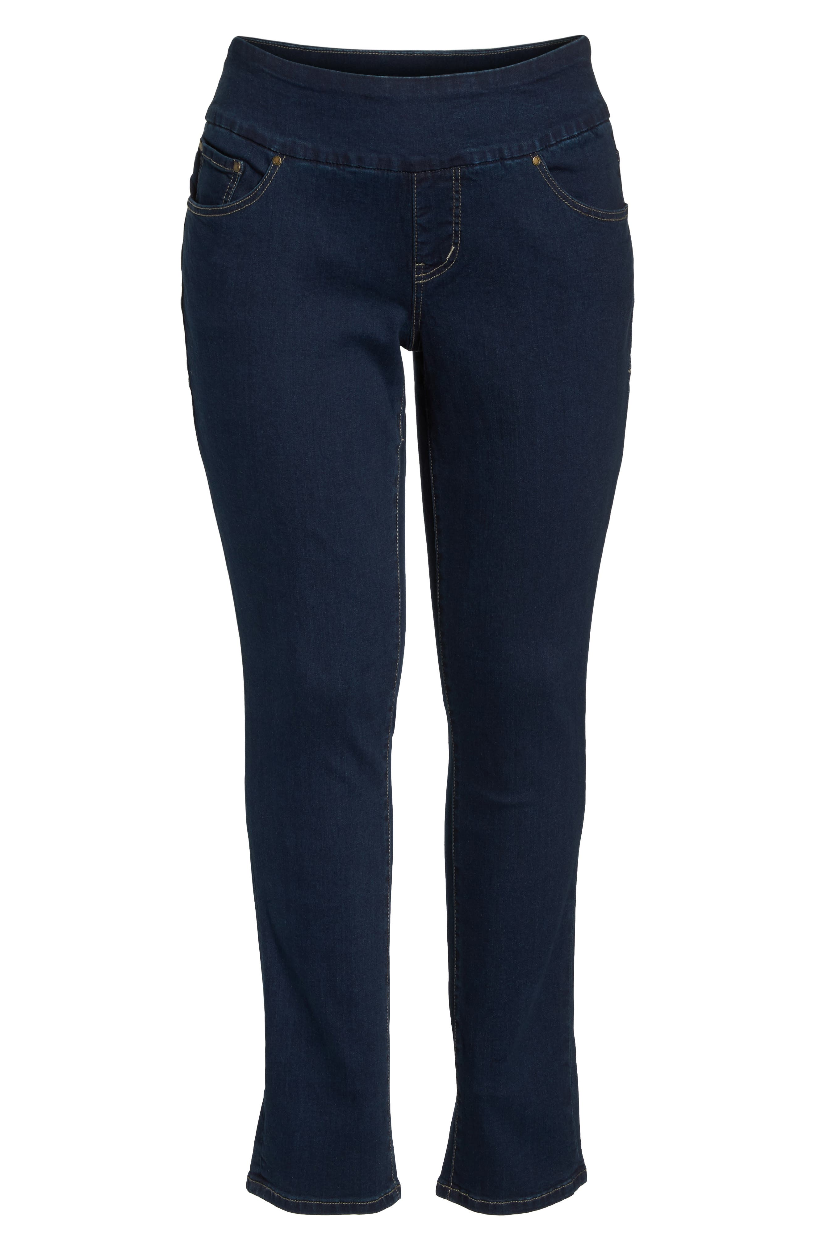 Paley Pull-On Bootcut Jeans,                             Alternate thumbnail 7, color,                             MED INDIGO