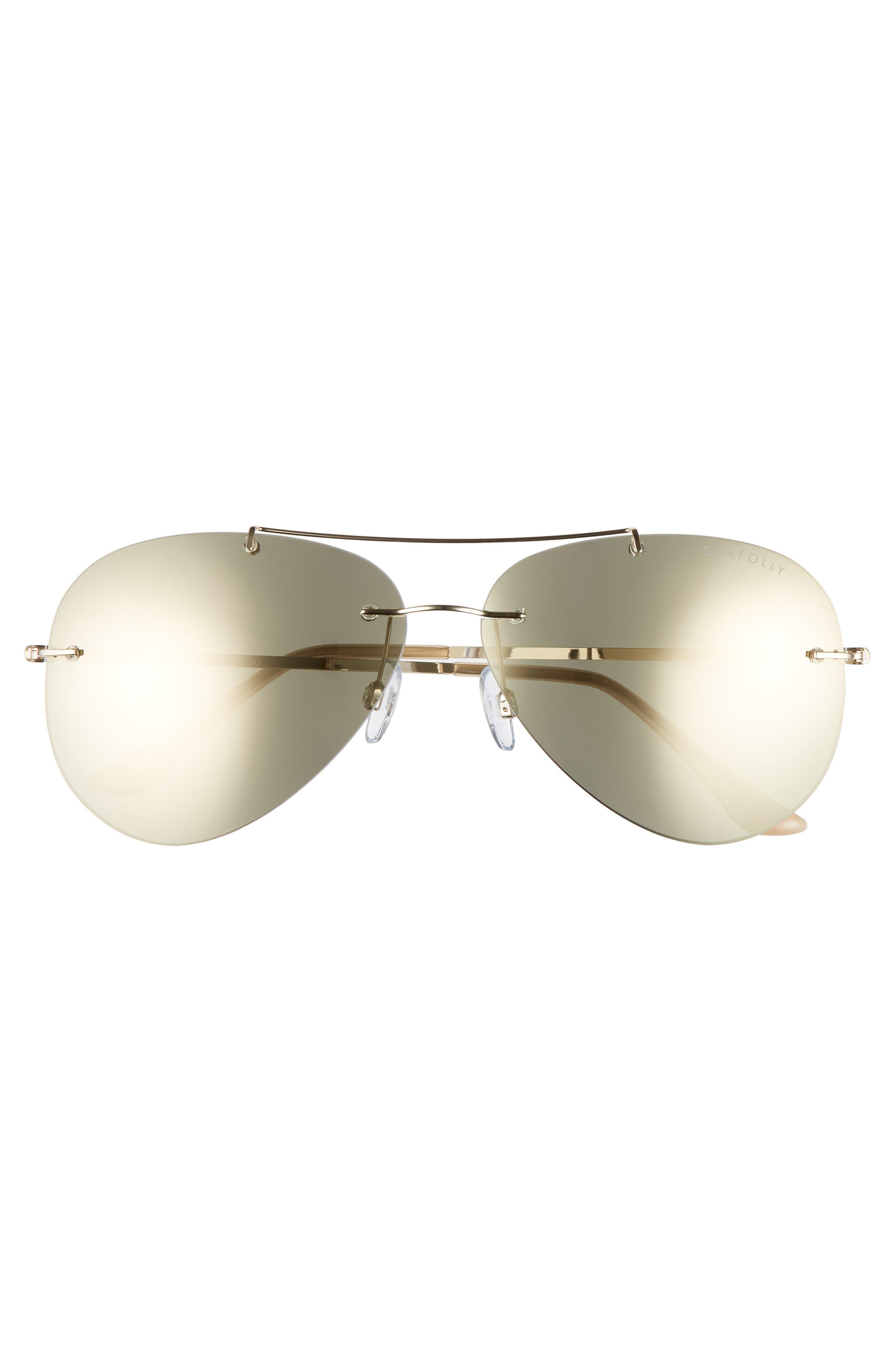 SEAFOLLY,                             Redondo 61mm Rimless Aviator Sunglasses,                             Alternate thumbnail 3, color,                             710