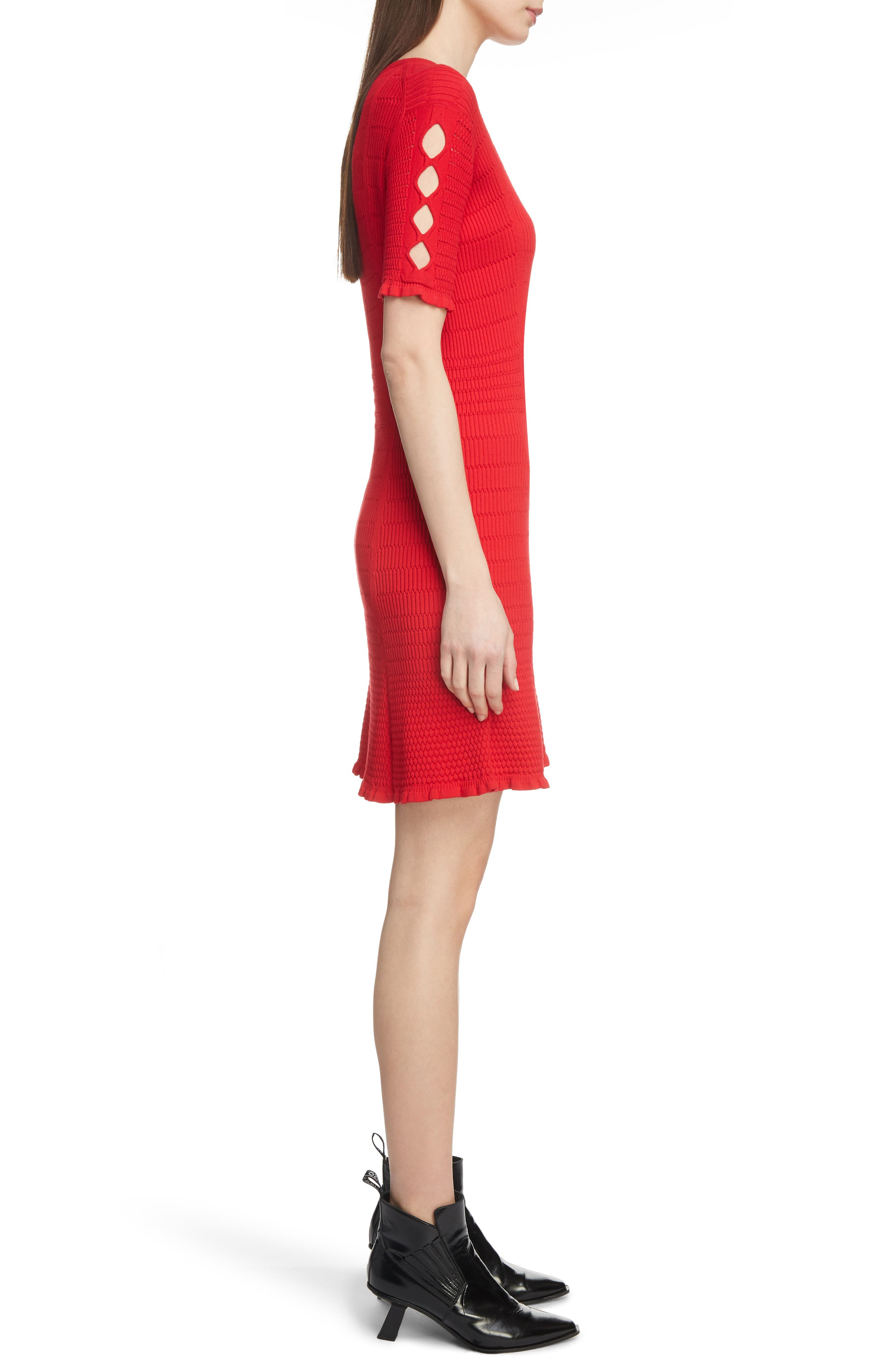 Textured Knit Dress,                             Alternate thumbnail 3, color,                             RED