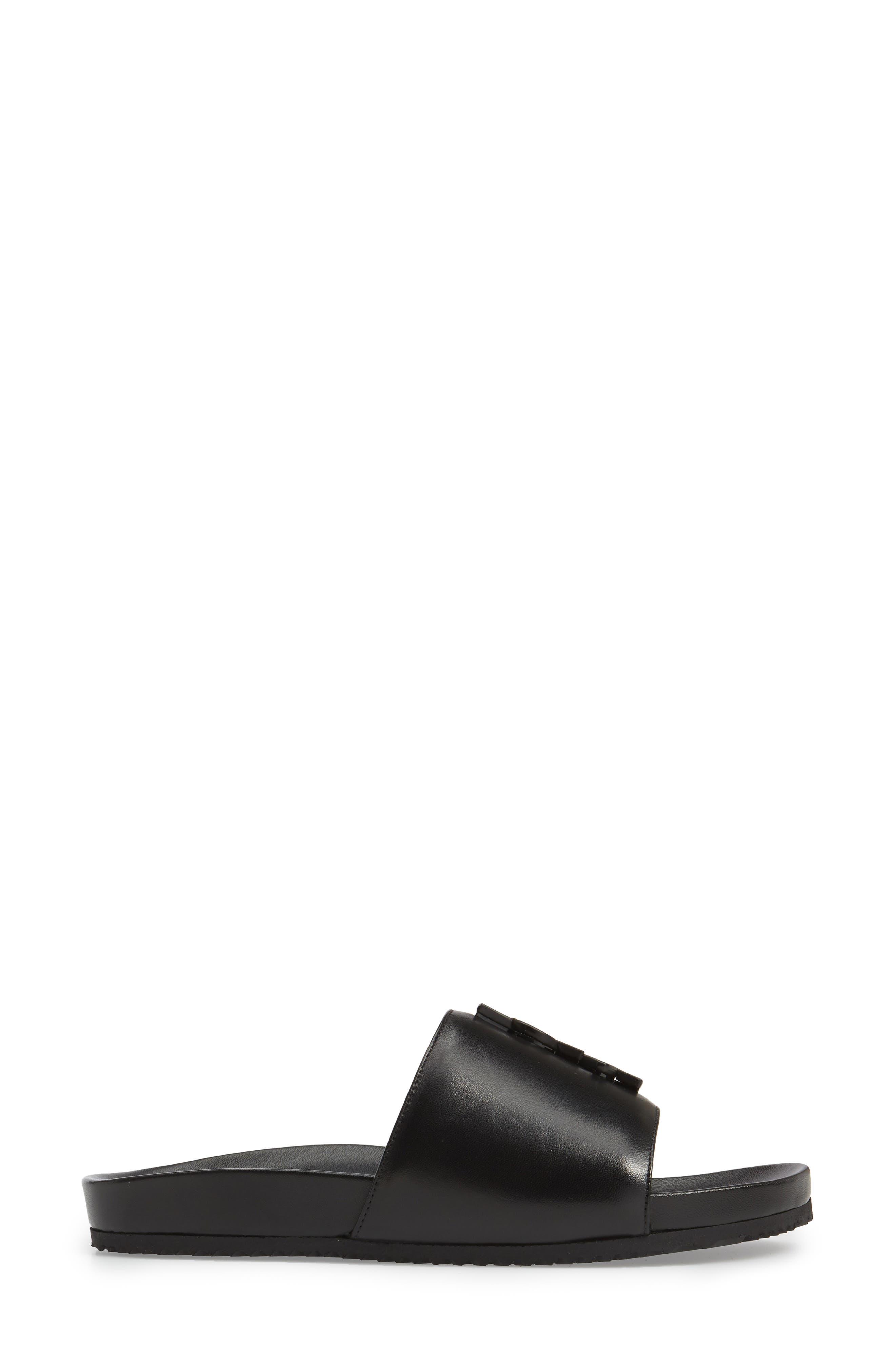 Joan Slide Sandal,                             Alternate thumbnail 4, color,                             BLACK