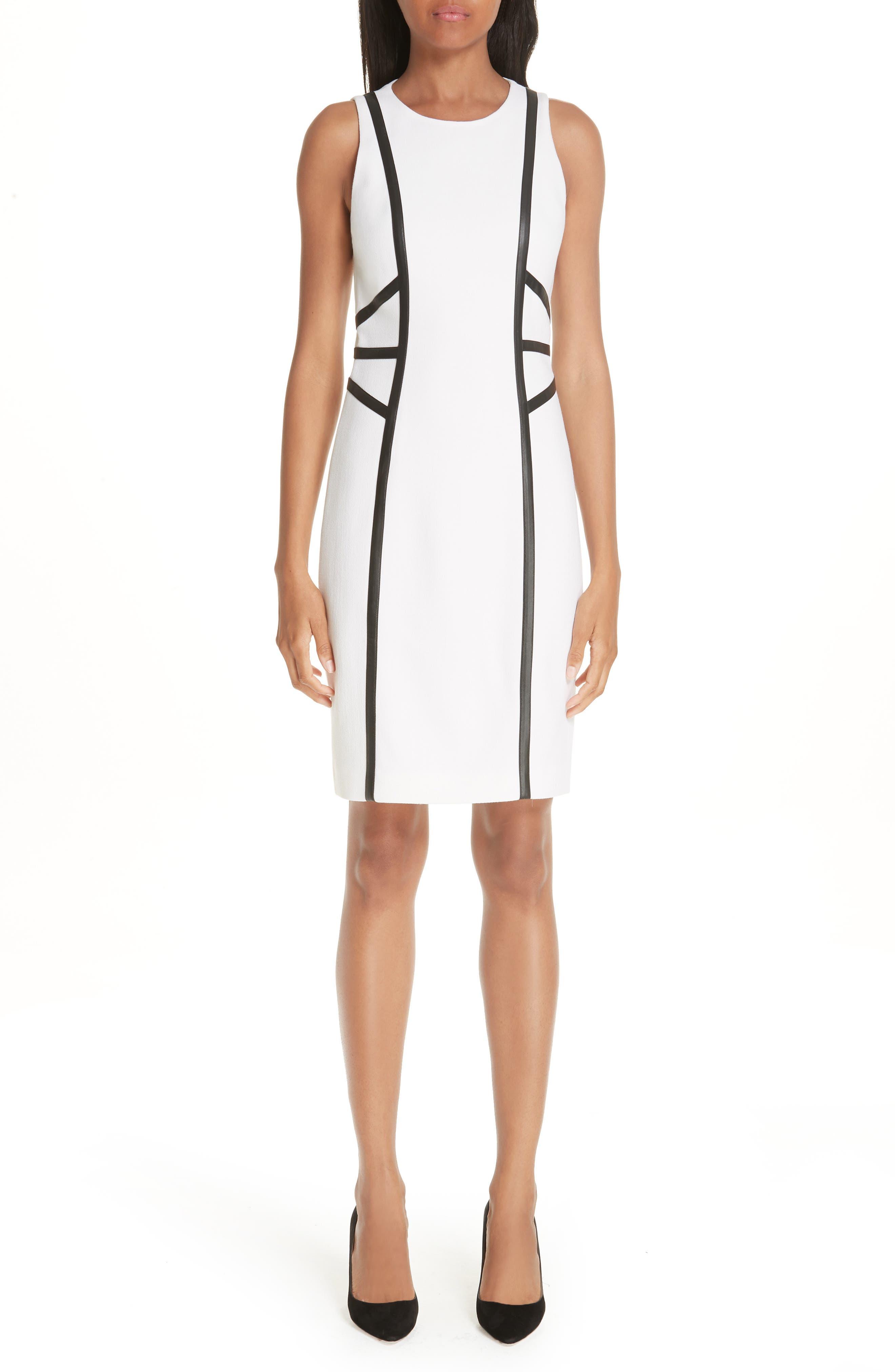 Michael Kors Leather Trim Boucle Crepe Sheath Dress, White