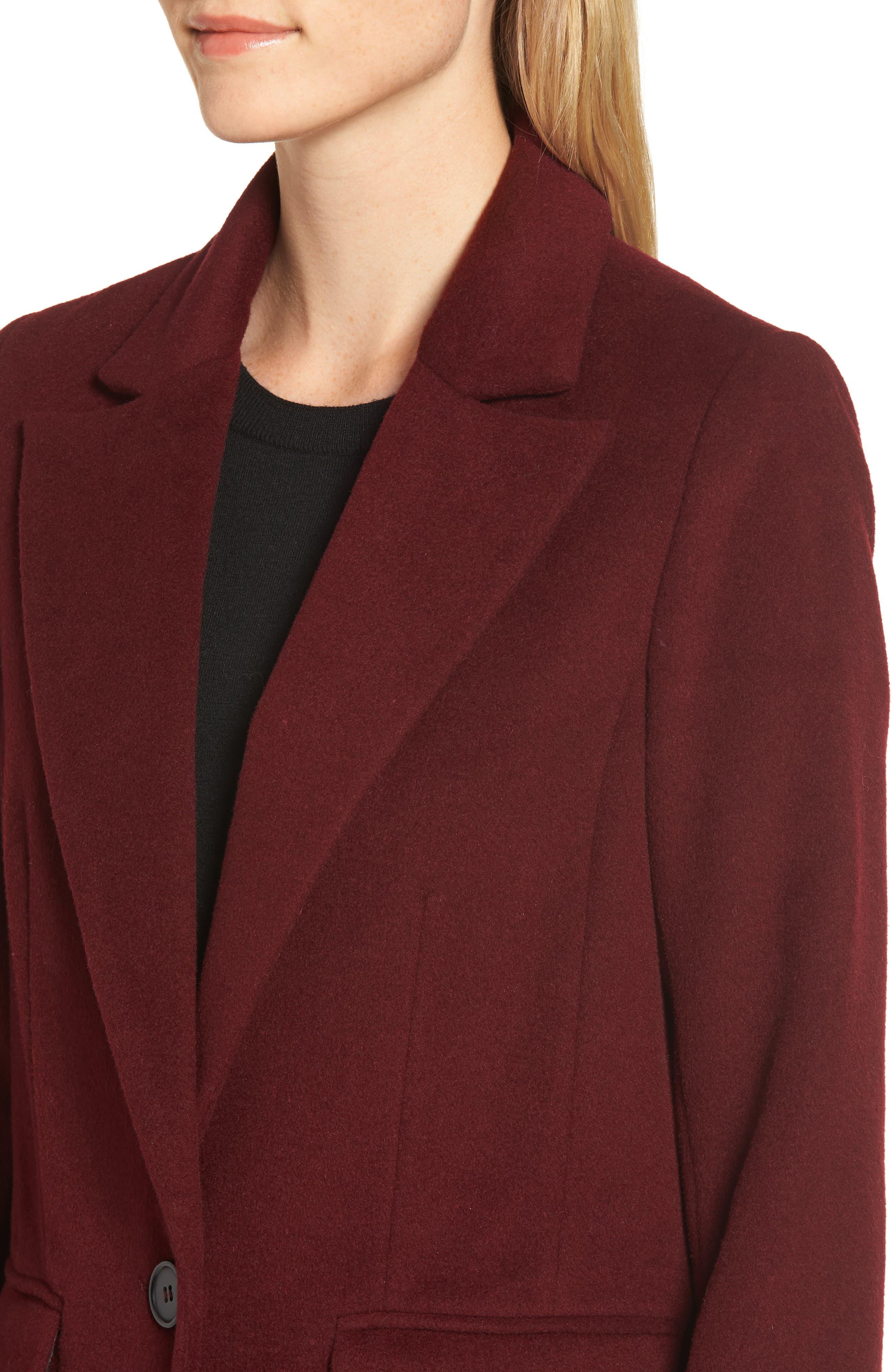 Wool Blend Menswear Coat,                             Alternate thumbnail 4, color,                             BURGUNDY