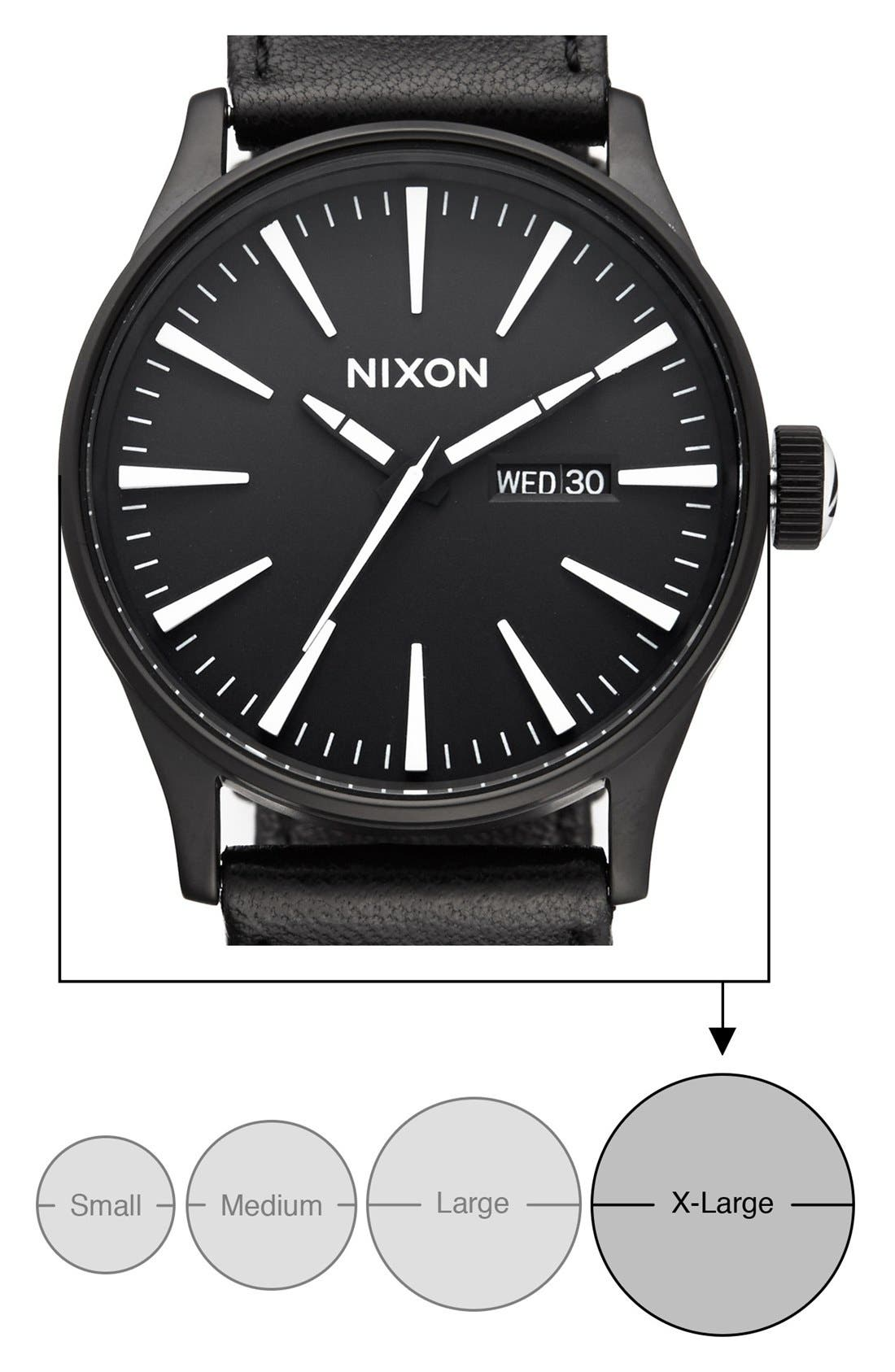 The Sentry Leather Strap Watch, 42mm,                             Alternate thumbnail 5, color,                             BLACK/ WHITE