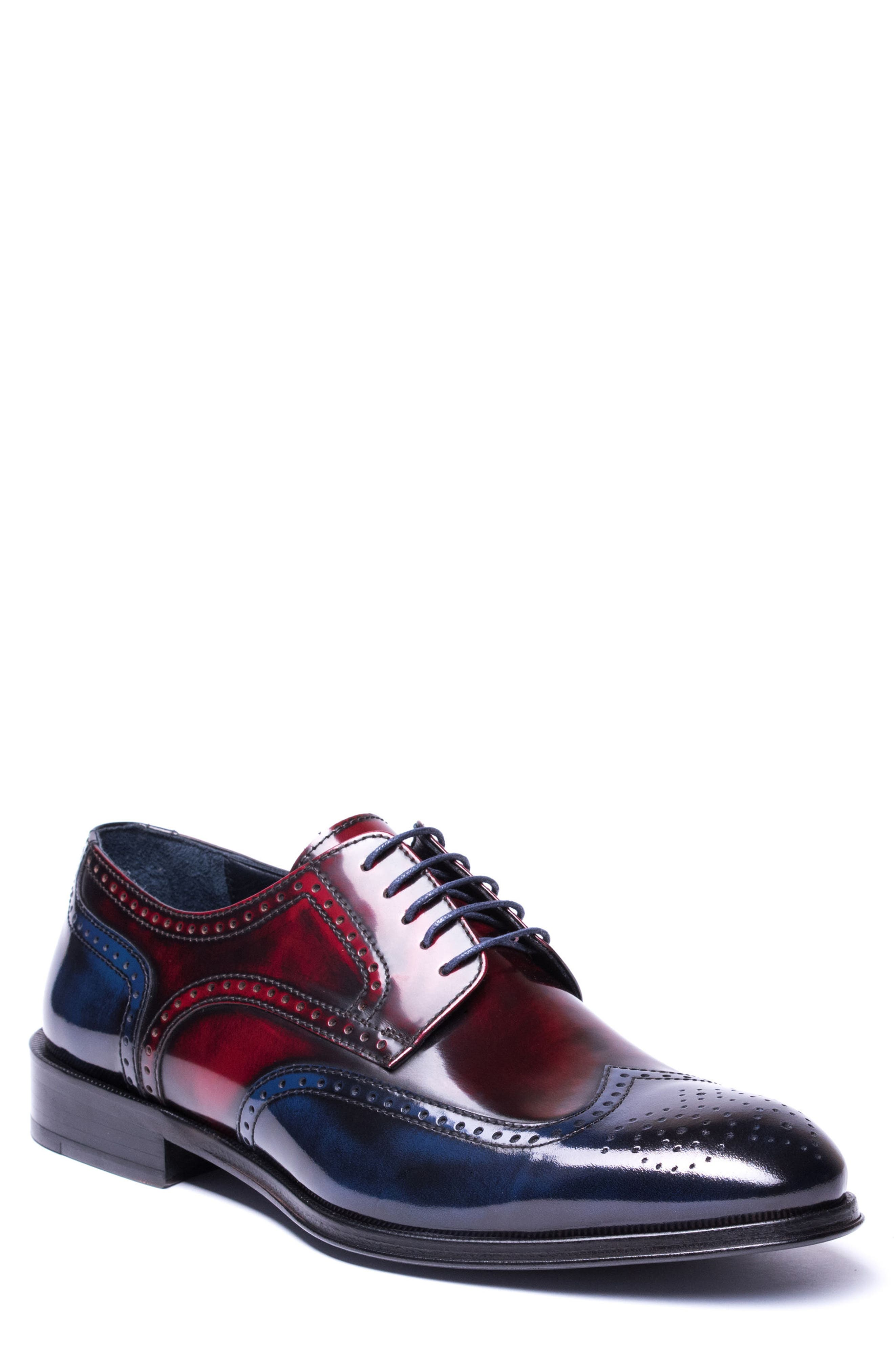Bryce Wingtip Derby,                             Main thumbnail 1, color,                             RED/ BLUE LEATHER