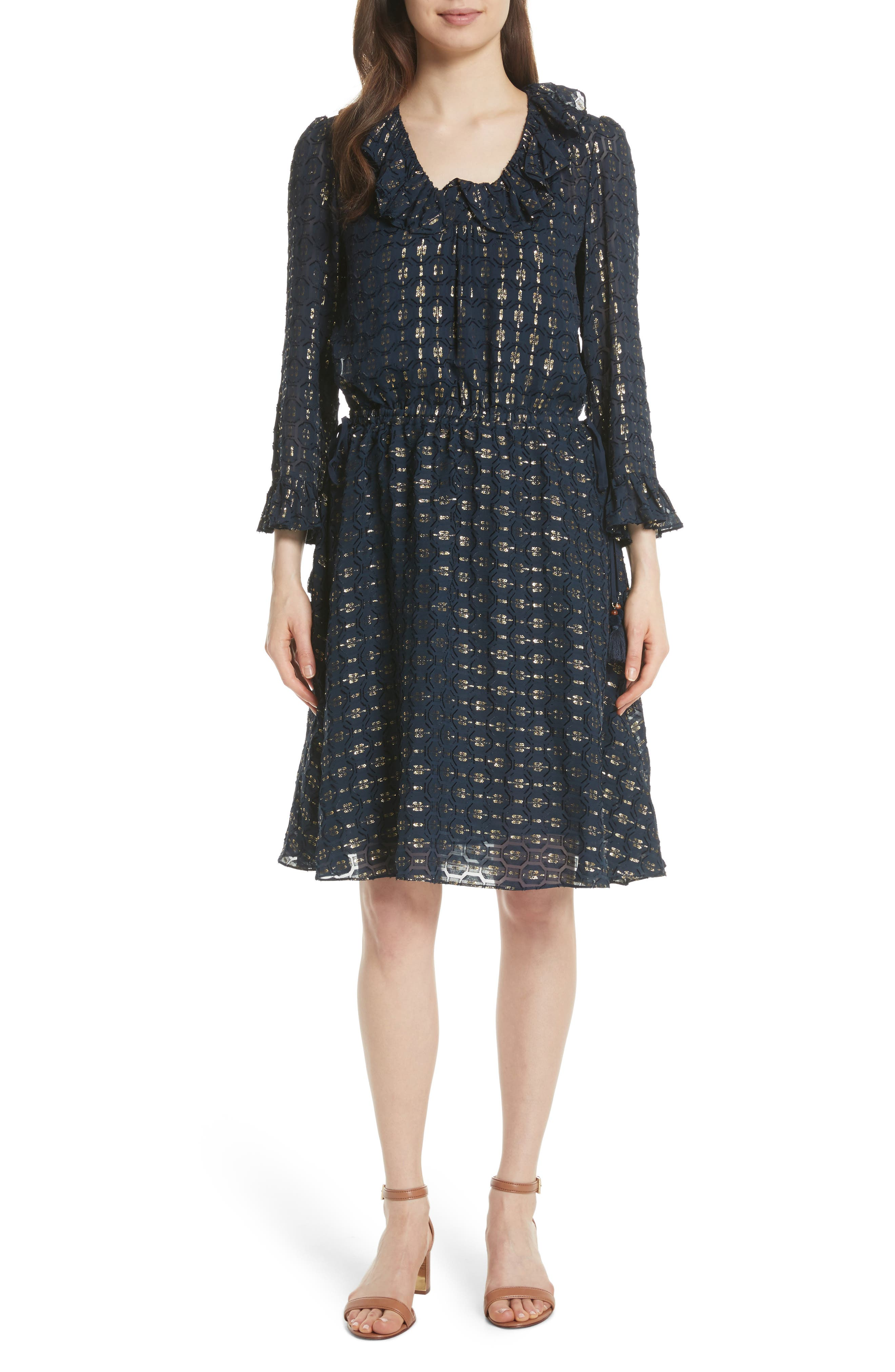 TORY BURCH,                             Jasmine Silk Blend Dress,                             Main thumbnail 1, color,                             405